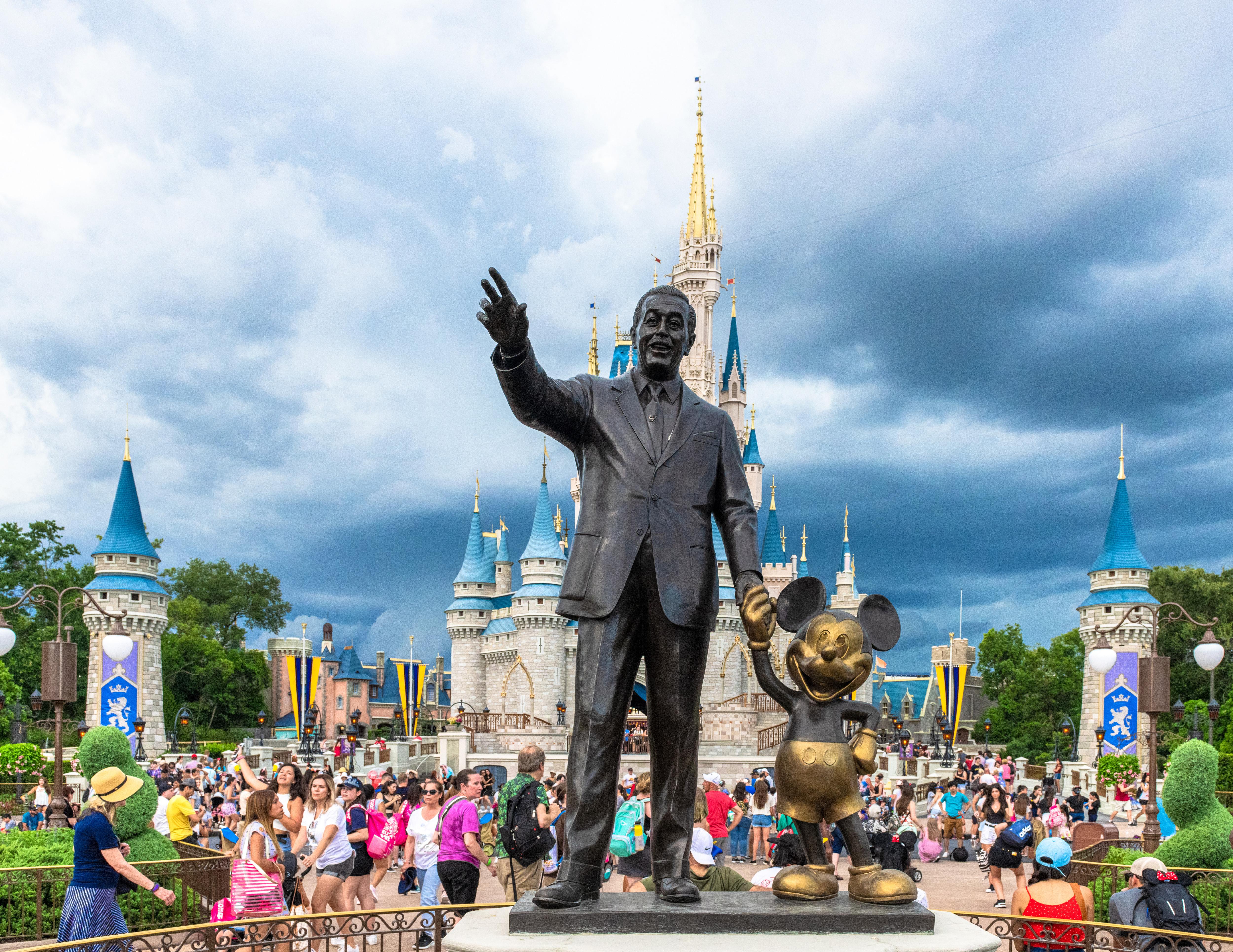 walt and mickey statue in disney world's magic kingdom