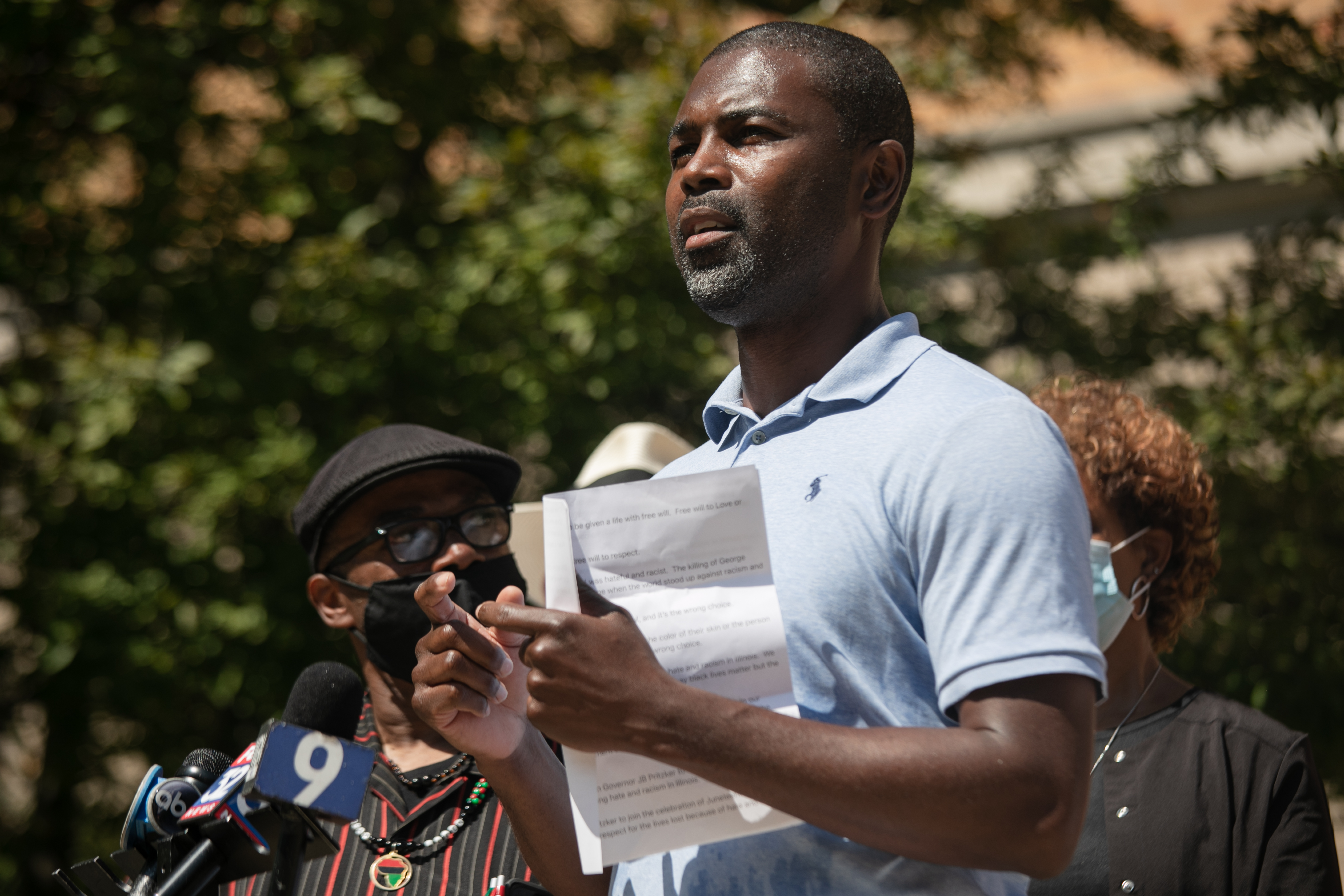 State Rep. La Shawn K. Ford speaks during a news  conference Tuesday, June 16, 2020, calling on Gov. J.B. Pritzker to lower flags in commemoration of Juneteenth. The news conference was held at Oak Park and River Forest High School.