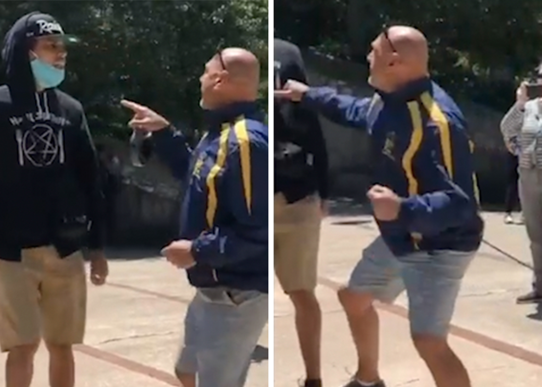 Screenshots from a provided video showing retired Cook County judge Robert Bertucci taking a swing at a protester.