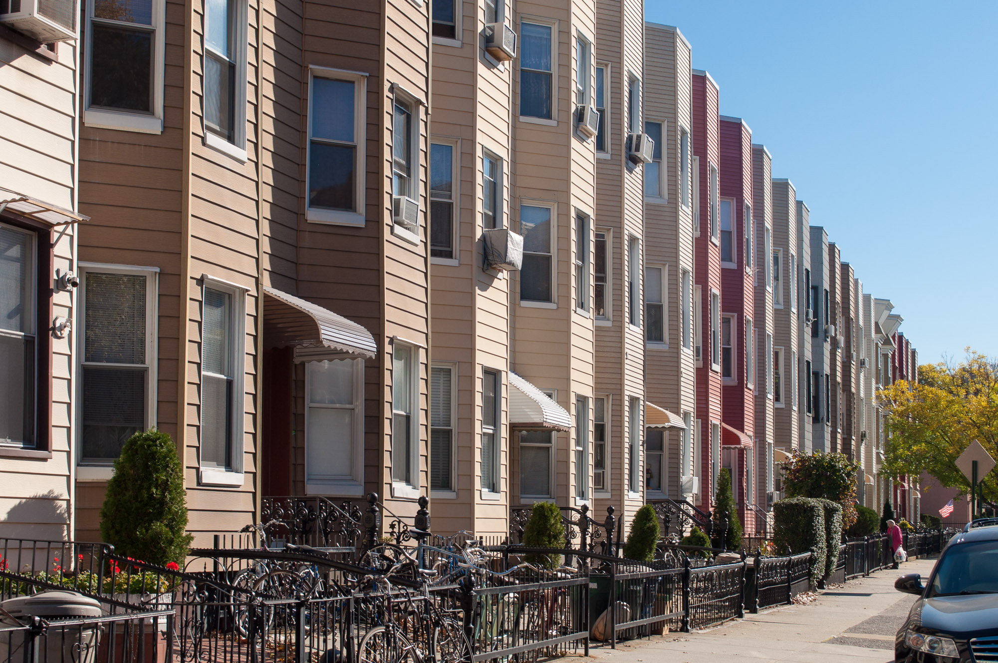 As the real estate industry prepares to reopen, New Yorkers may be looking for more spacious homes, like these three-story clapboard houses on a block in Greenpoint, Brooklyn.