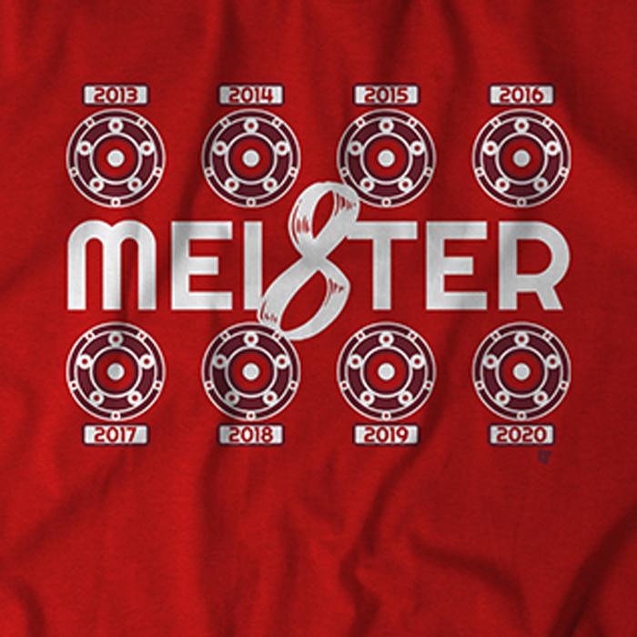 A closeup view of BFW's MEI8STER T-shirts.