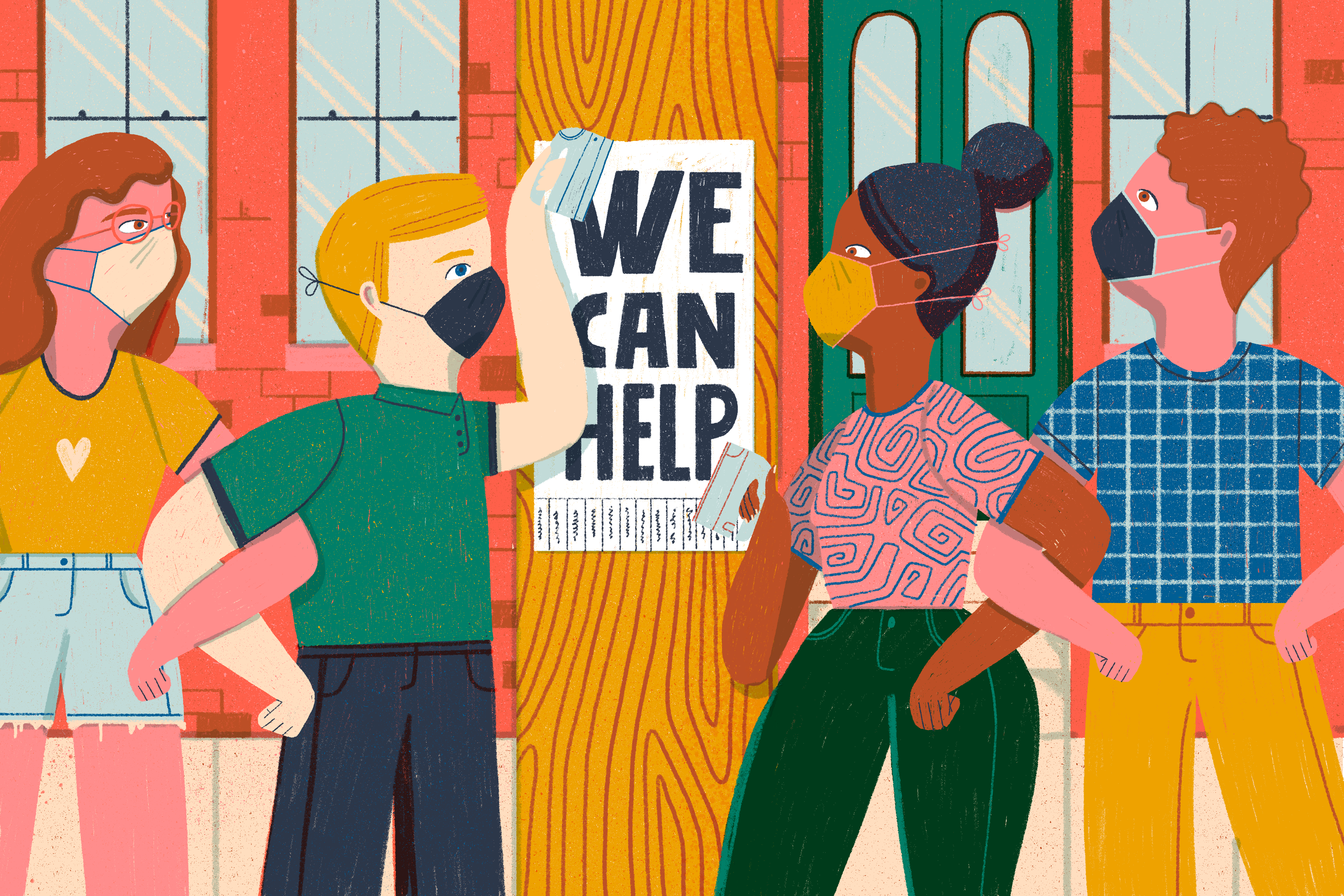 """A variety of young people of various races and genders are standing in front of a telephone poll pasting up a sign reading """"we can help"""" with small paper tabs of information that can be removed attached below the lettering. Illustration."""