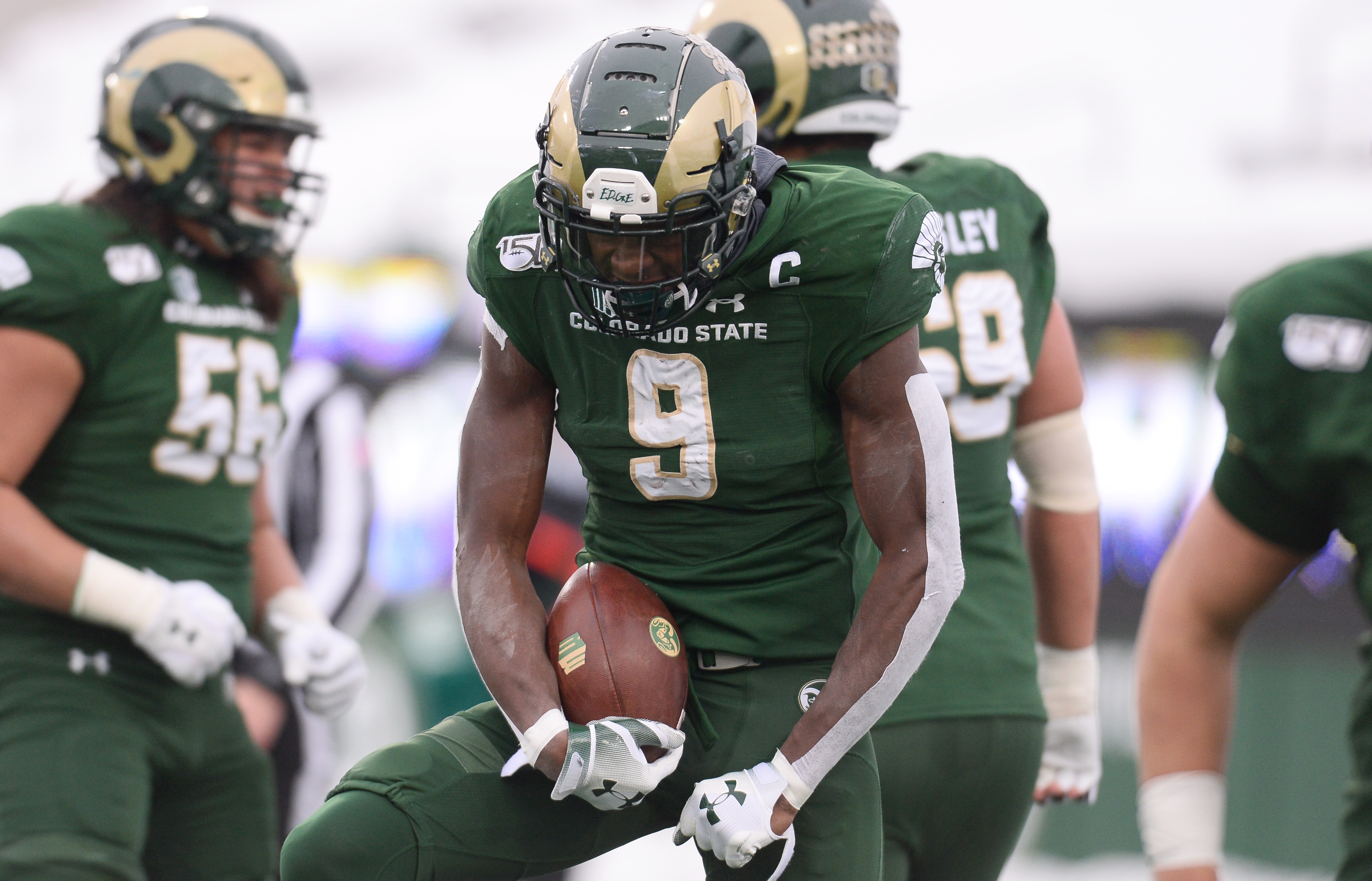 Colorado State wide receiver Warren Jackson celebrates his touchdown reception in the second quarter against Boise State.