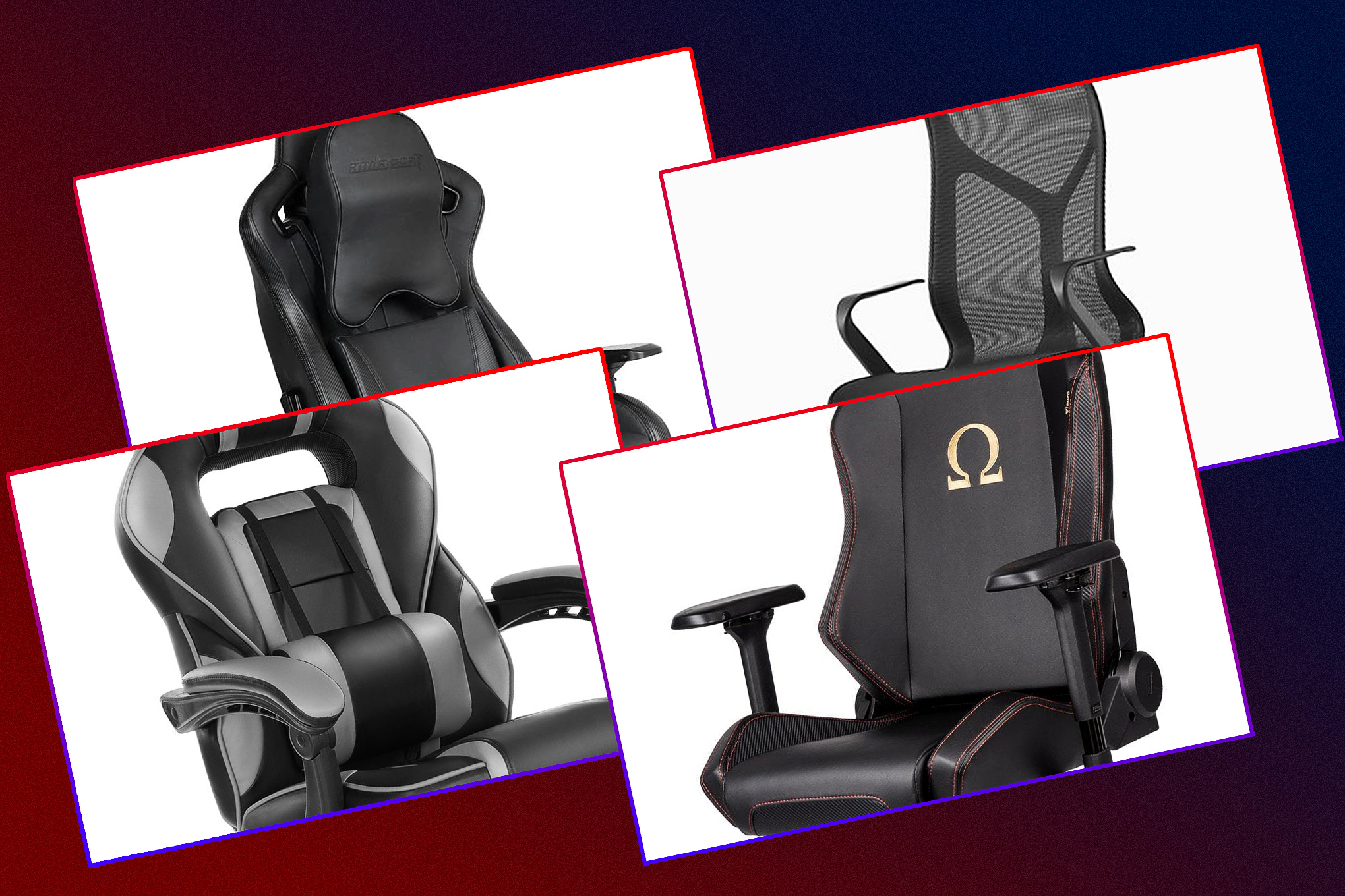 Grid featuring four different gaming chairs