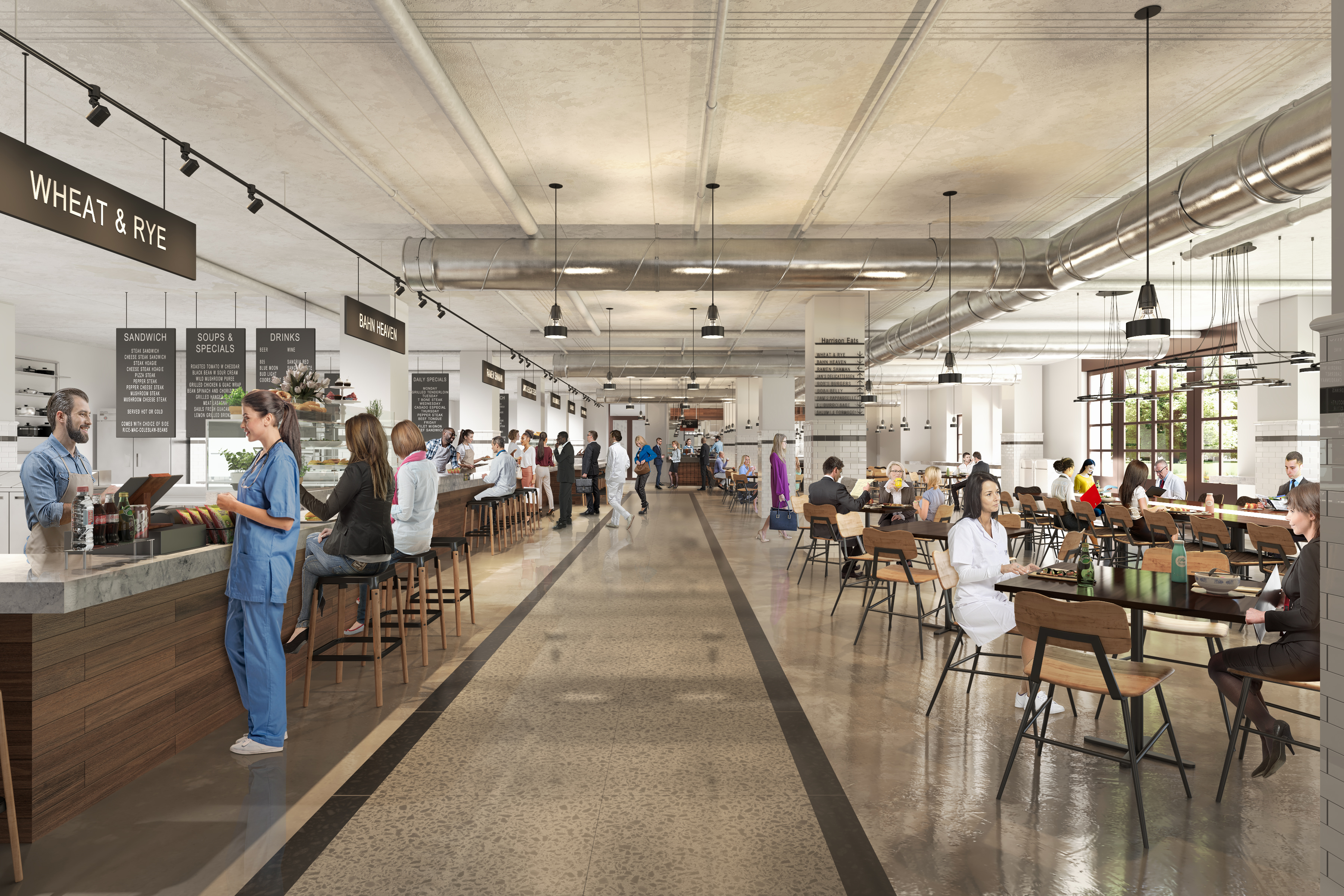 A rendering of people ordering and dining inside a food hall