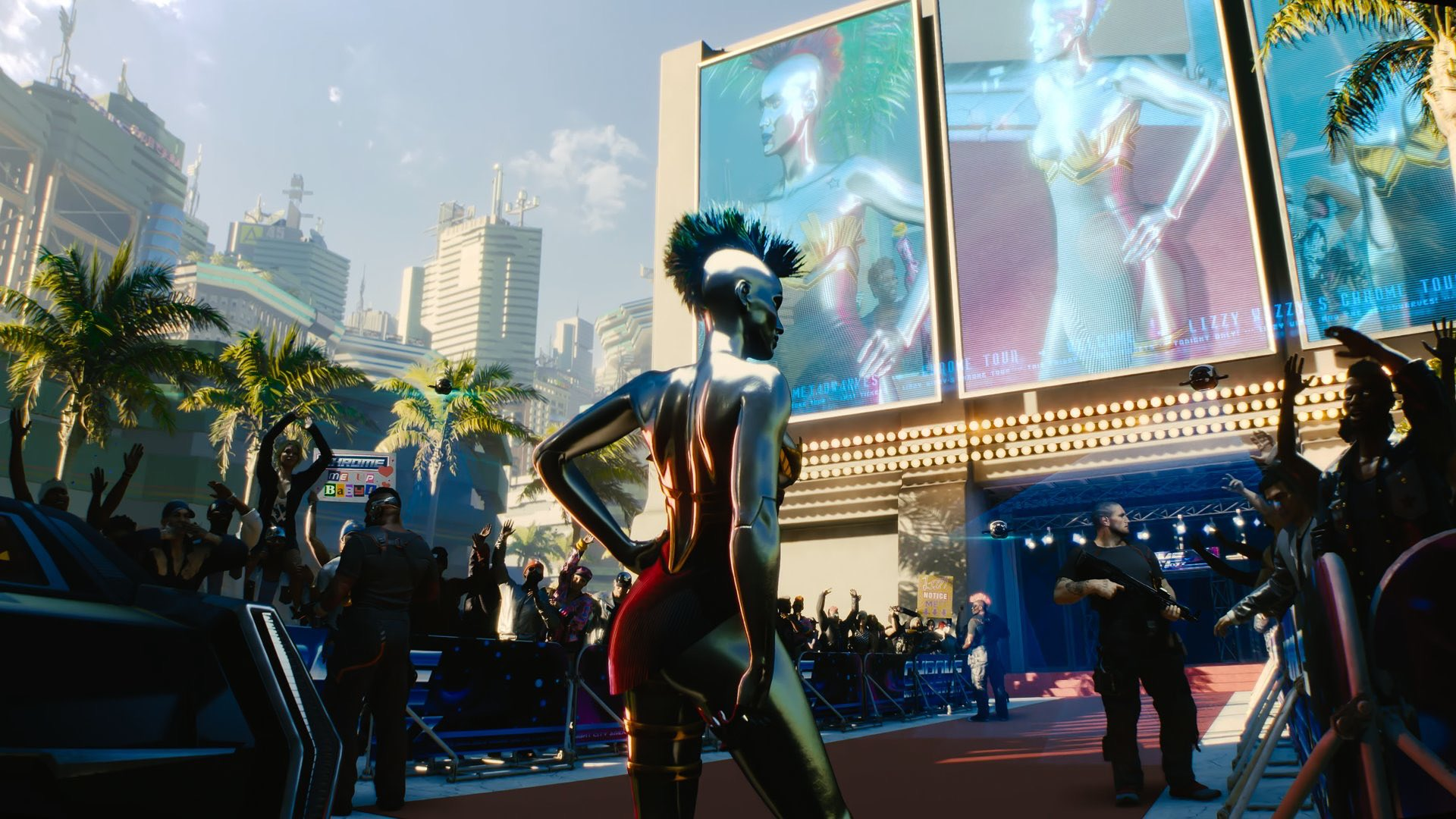 Lizzy Wizzy shown in Cyberpunk 2077. Her body is entirely chromed out.