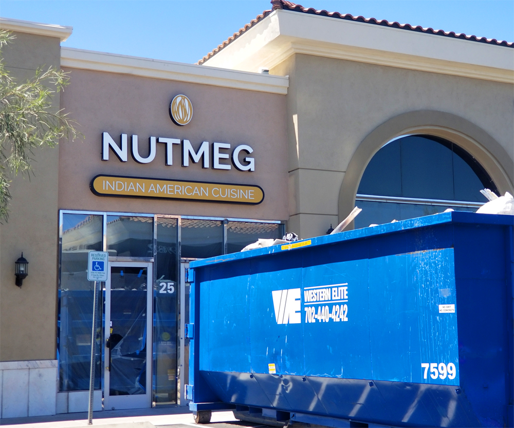 The exterior of the under constrcuion Nutmeg restaurant, opening in July at the Silverado Ranch Place retail center.