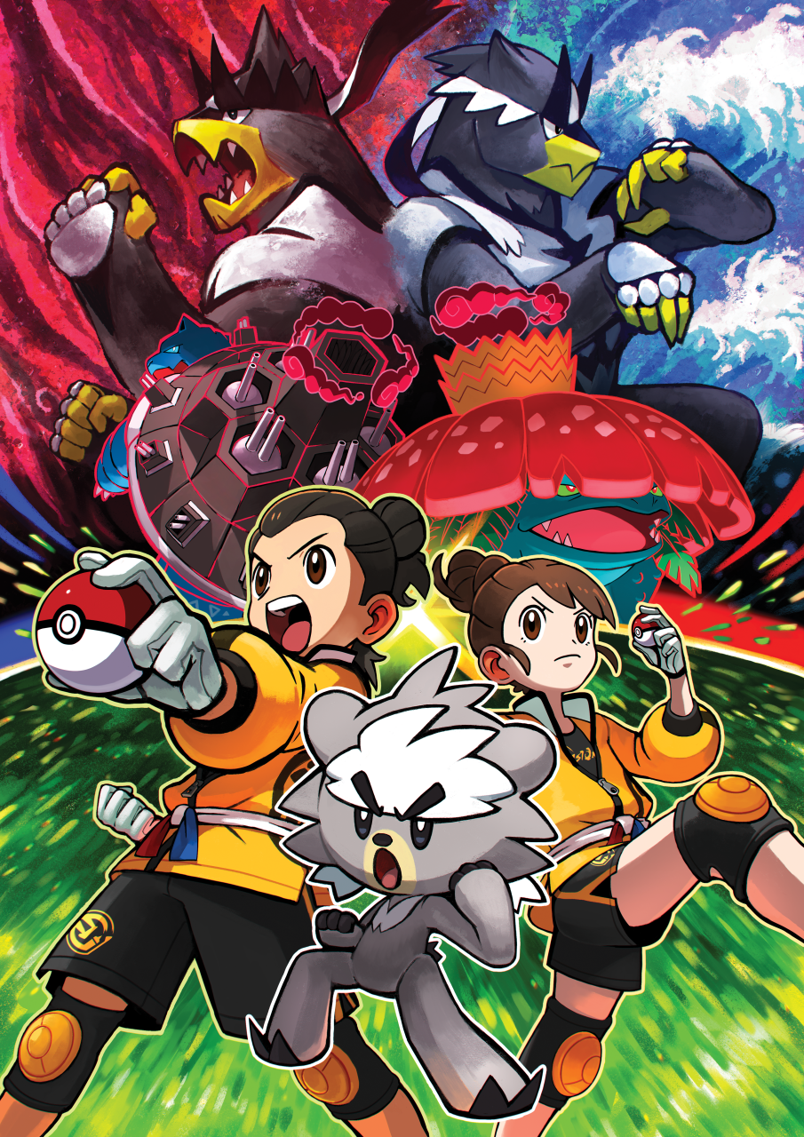 Two Pokémon trainers in dojo uniforms pose while large Urshifu pose behind them for the Isle of Armor Pokémon expansion