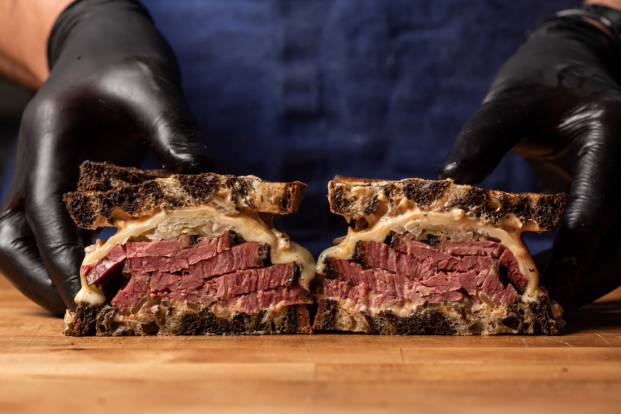 A thick-cut pastrami sandwich on marbled rye.