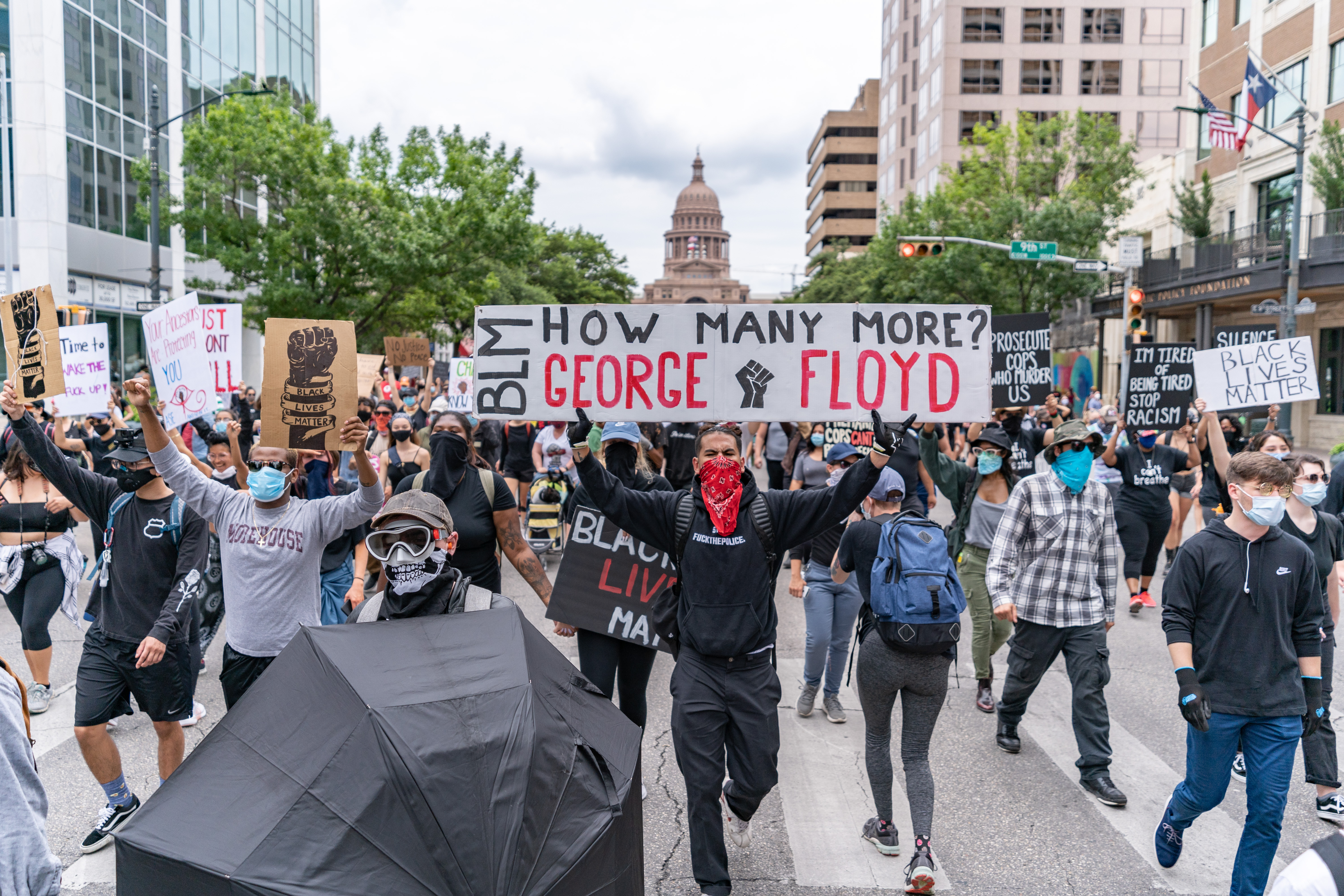 Protests in Austin on May 30 along Congress Avenue