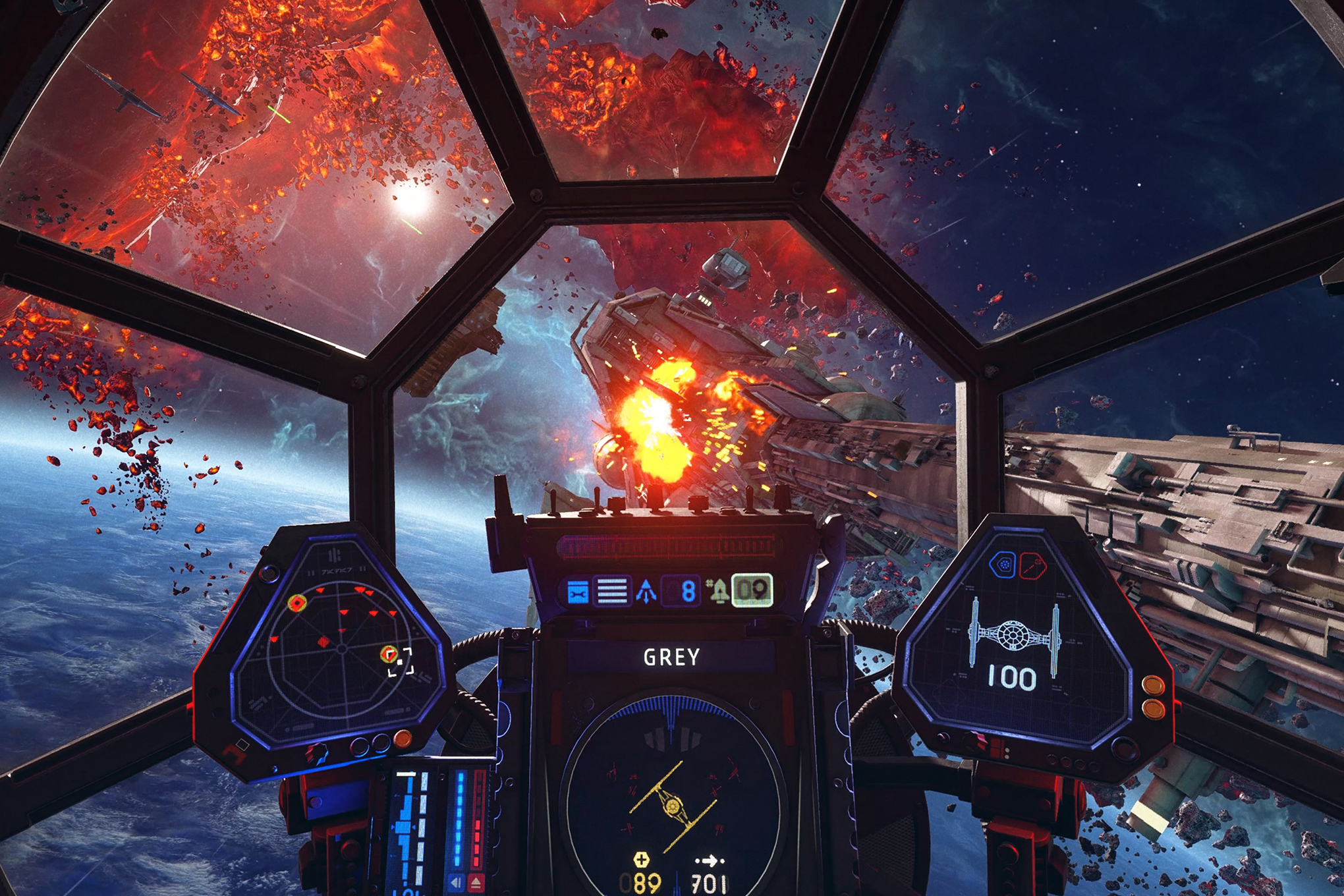 An attack run on a rebel cruiser, seen from inside the cockpit of an Imperial starship, in Star Wars: Squadrons.