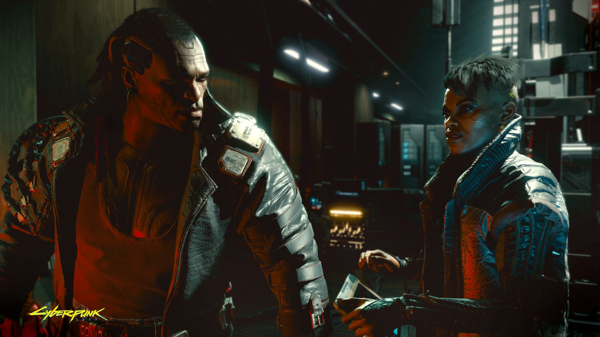 Two characters talk in a screenshot from Cyberpunk 2077