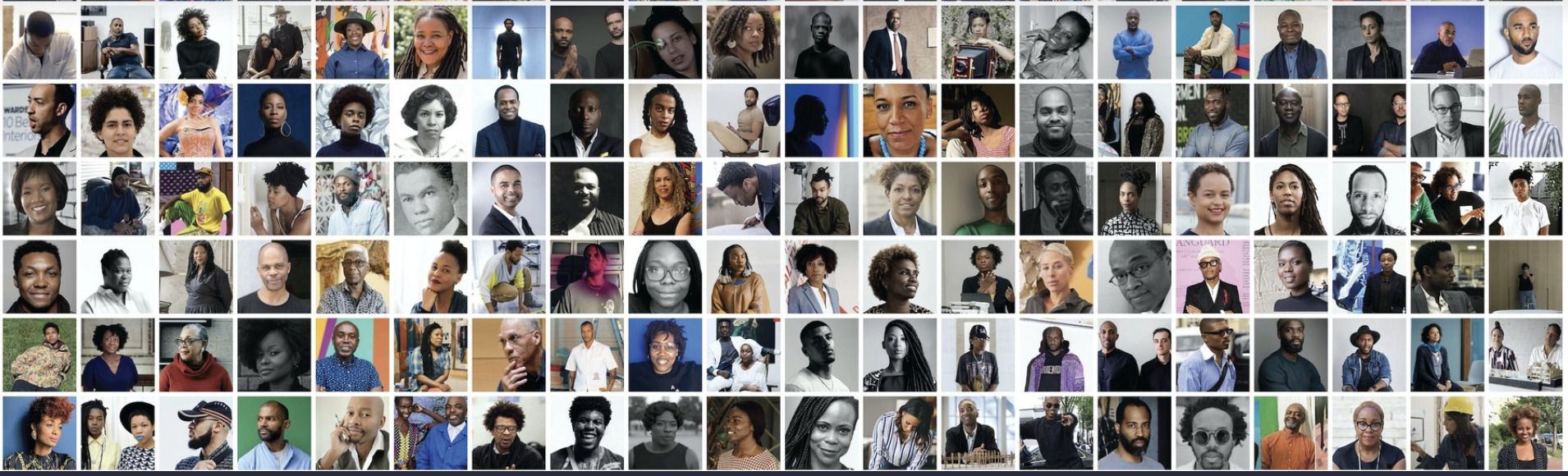 A tiled image of portraits of Black artists, designers, and creatives