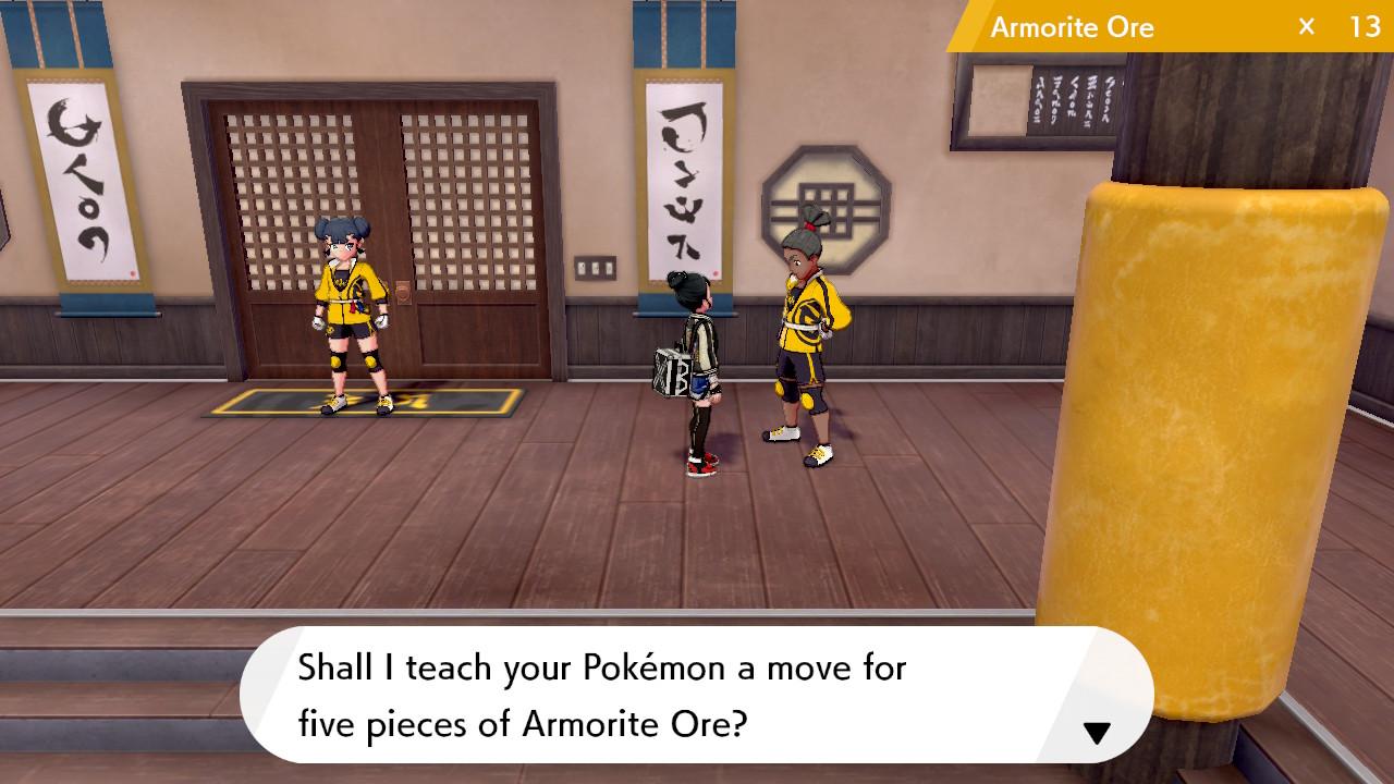 A man in a dojo uniform offers to teach a Pokémon Trainer's Pokémon some special moves