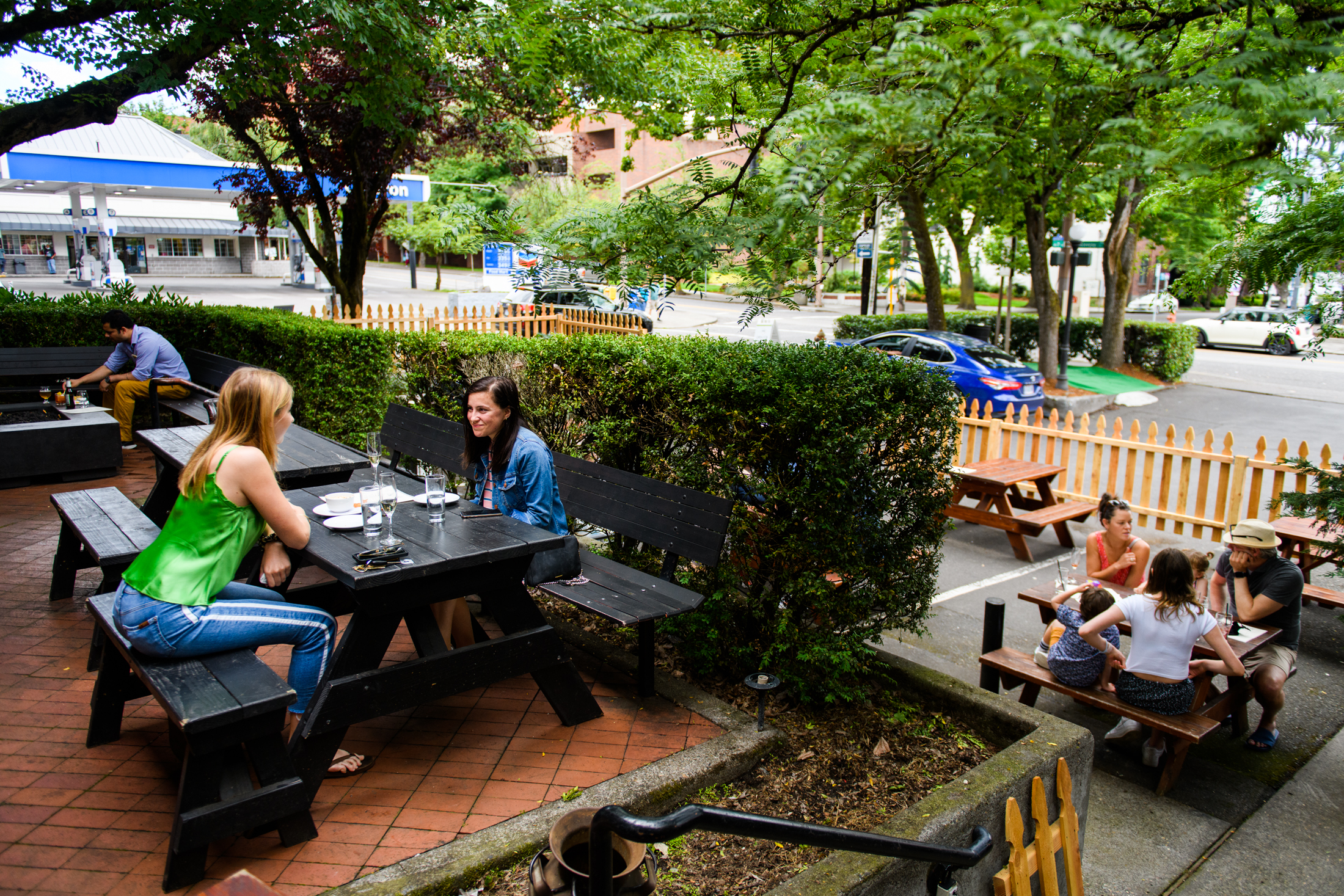 The patio at Bantam Tavern, about half-full on Sunday