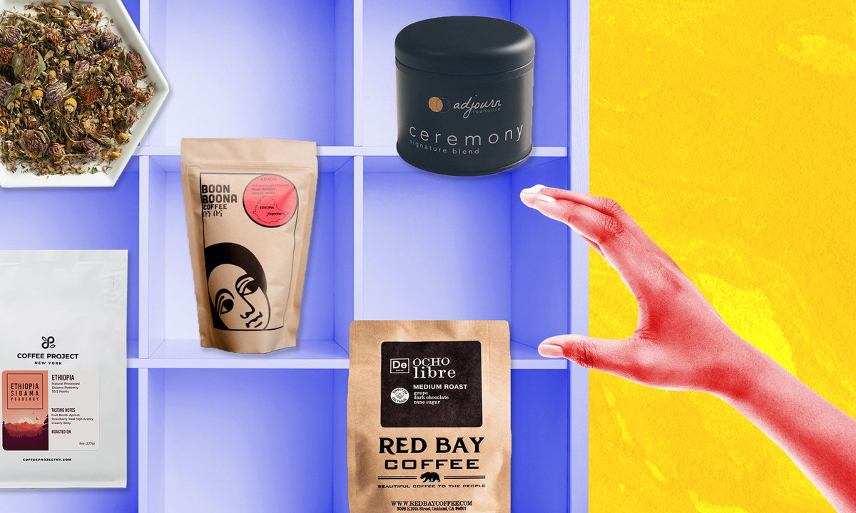 A photo illustration of a hand reaching for coffee and tea on a shelf