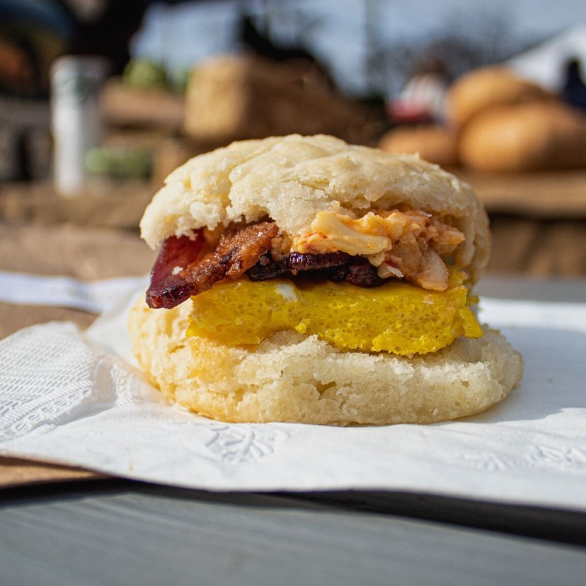 A bacon, egg, and pimento cheese biscuit from the Butterly Biscuits popup at the Met in Adair Park, Atlanta