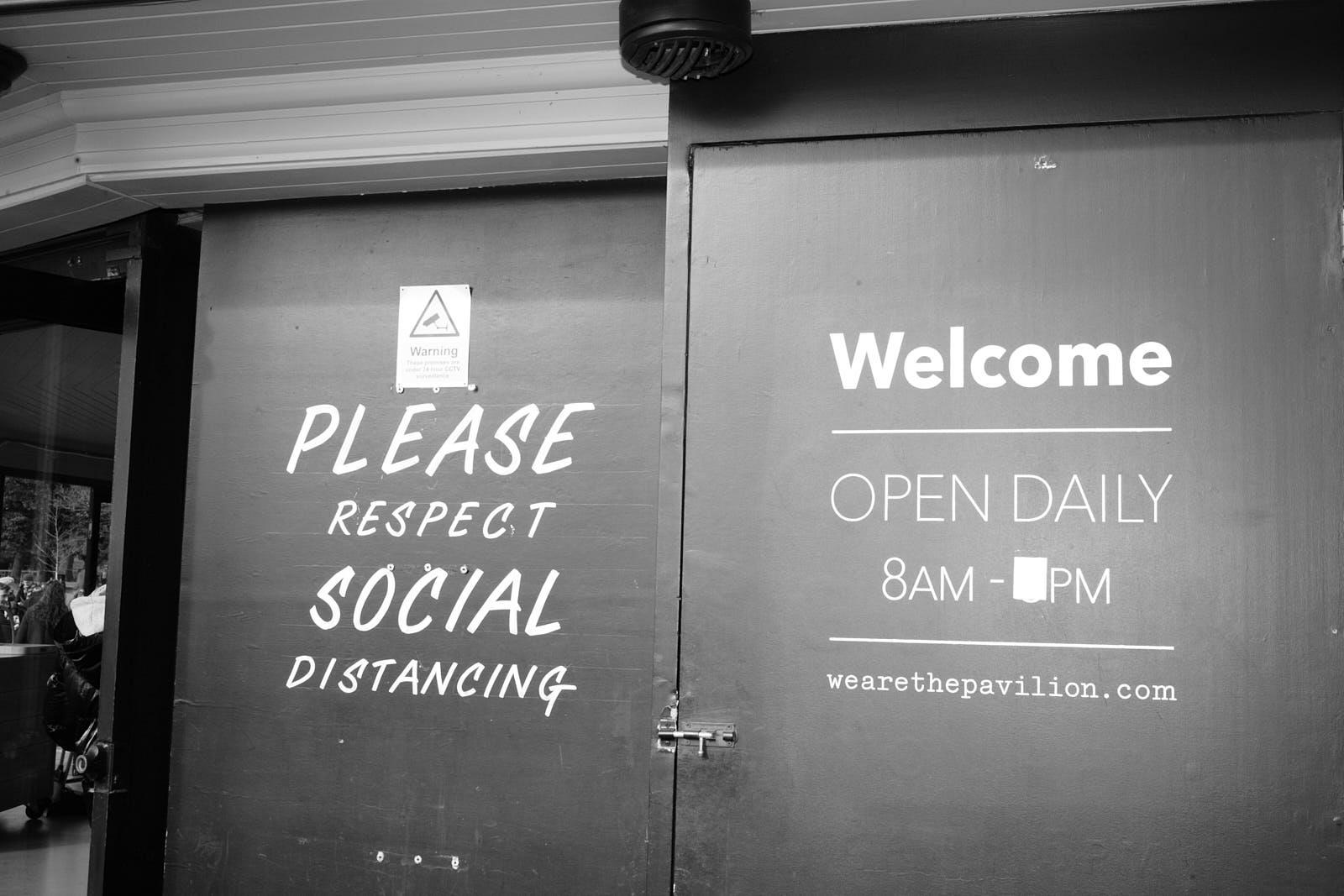 Social distancing signage on London restaurant Pavilion