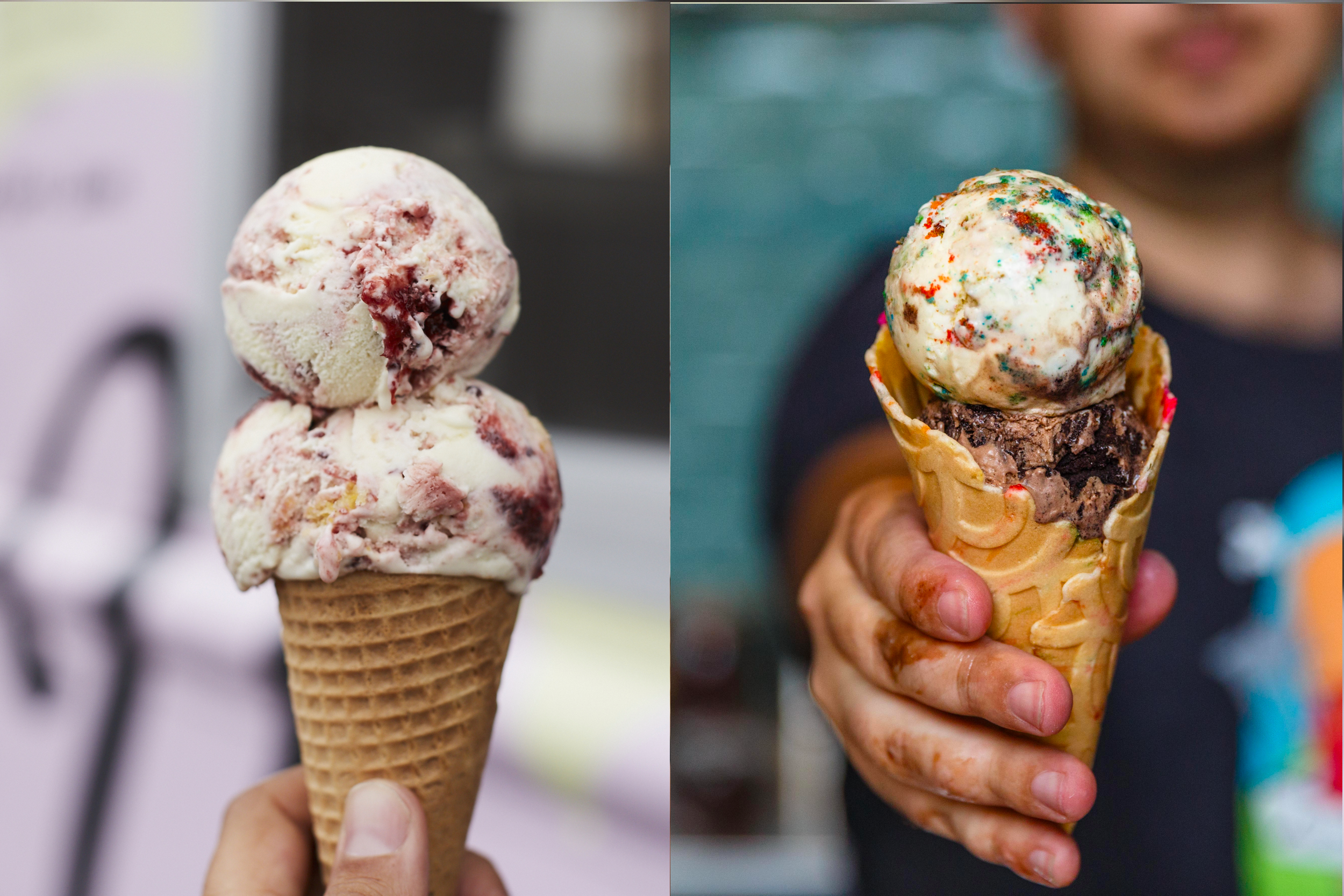 Two side by side images of scoops of ice cream in a cone, with Van Leeuwen on the left and Ample Hills on the right