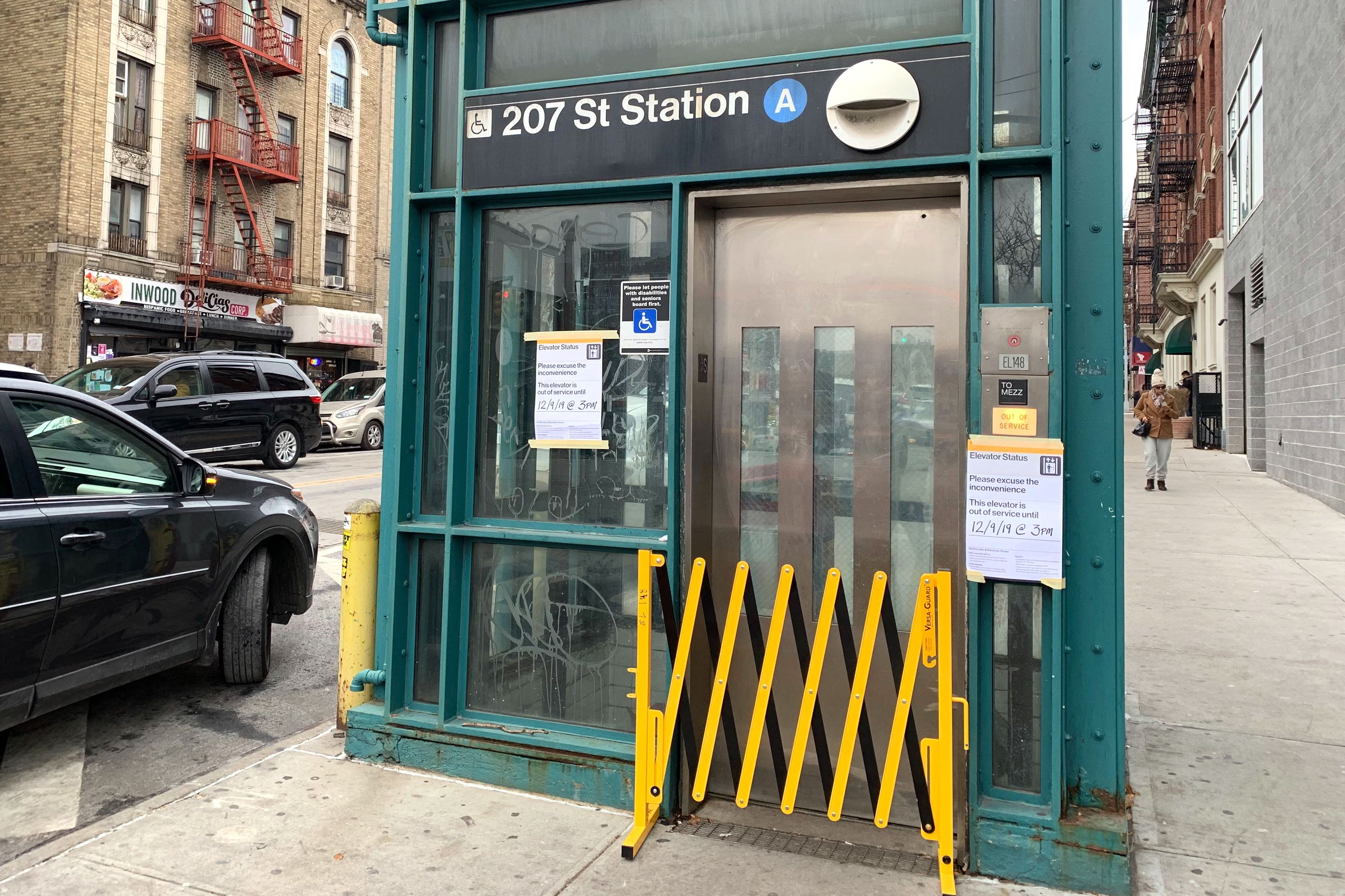 An out-of-service elevator at the 207th Street stop on the A, seen on Dec. 4, 2019. The contract for its replacement has been put on hold.
