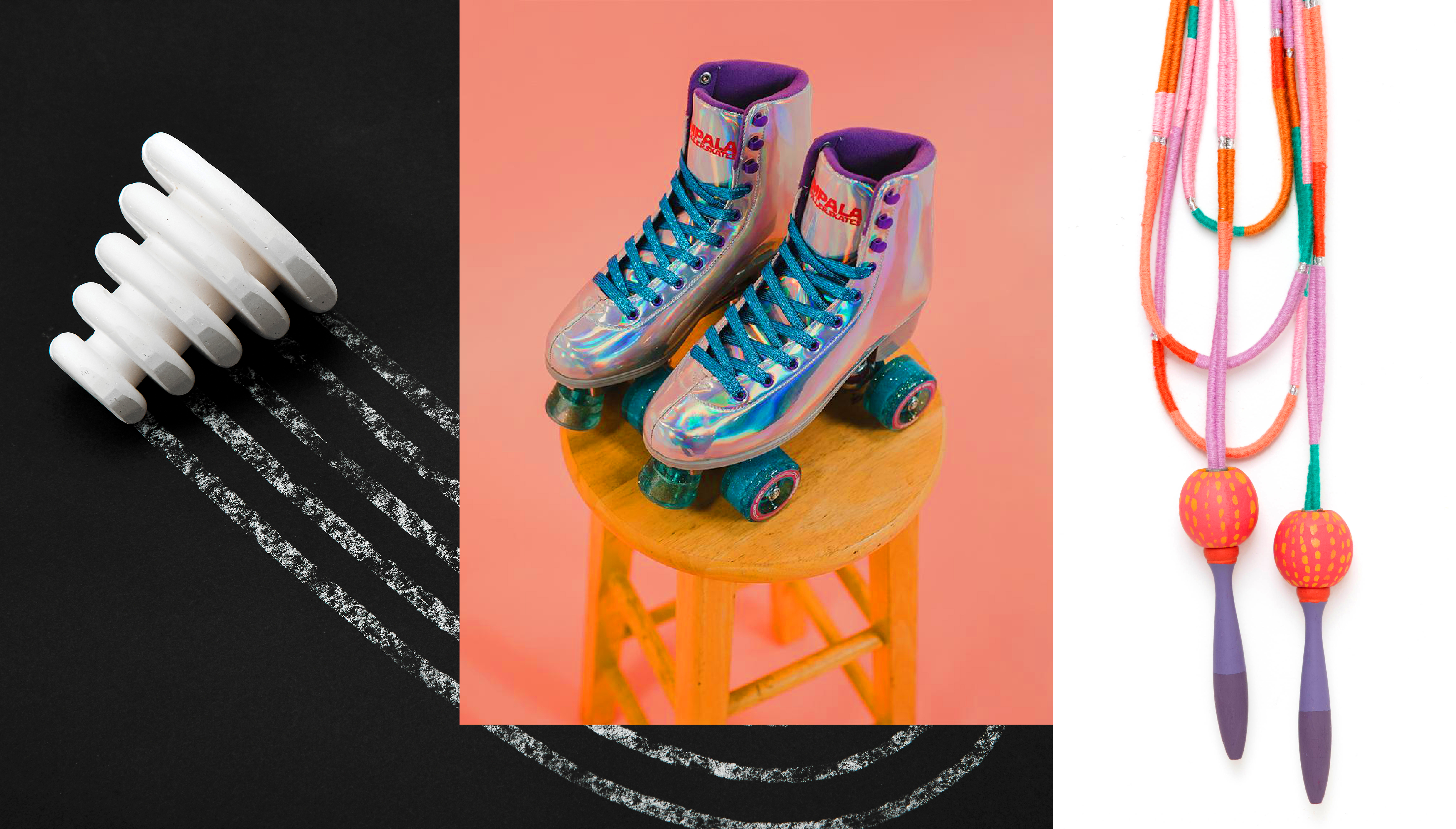 A conical piece of chalk, retro roller skates, and multi-color jump rope