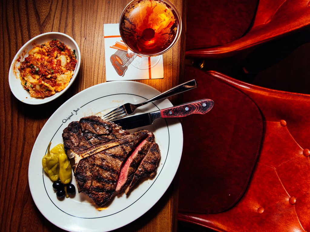 Steak and ravioli at Original Joe's