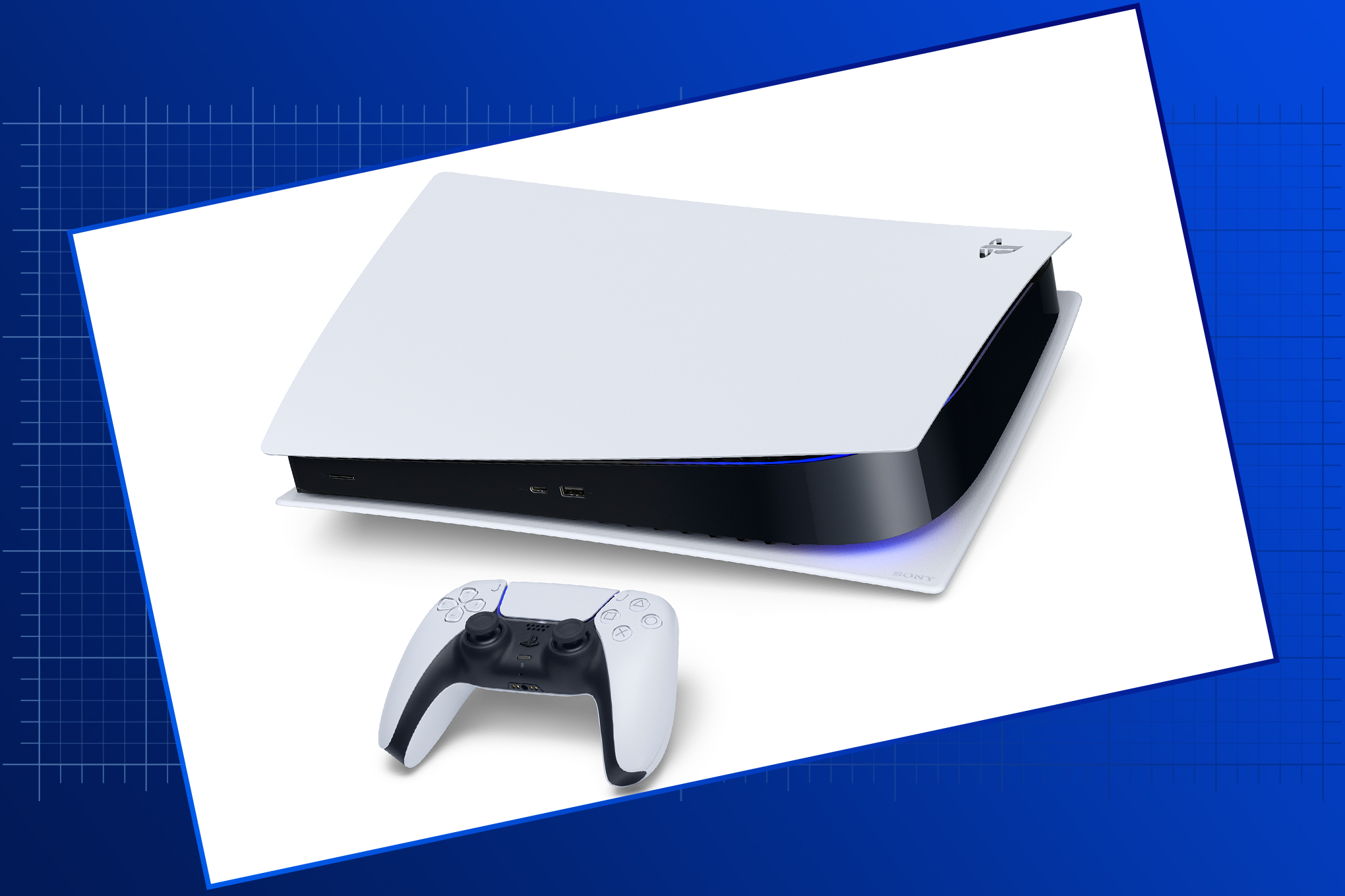 Sony PS5 console and controller on a graduated blue graphic background