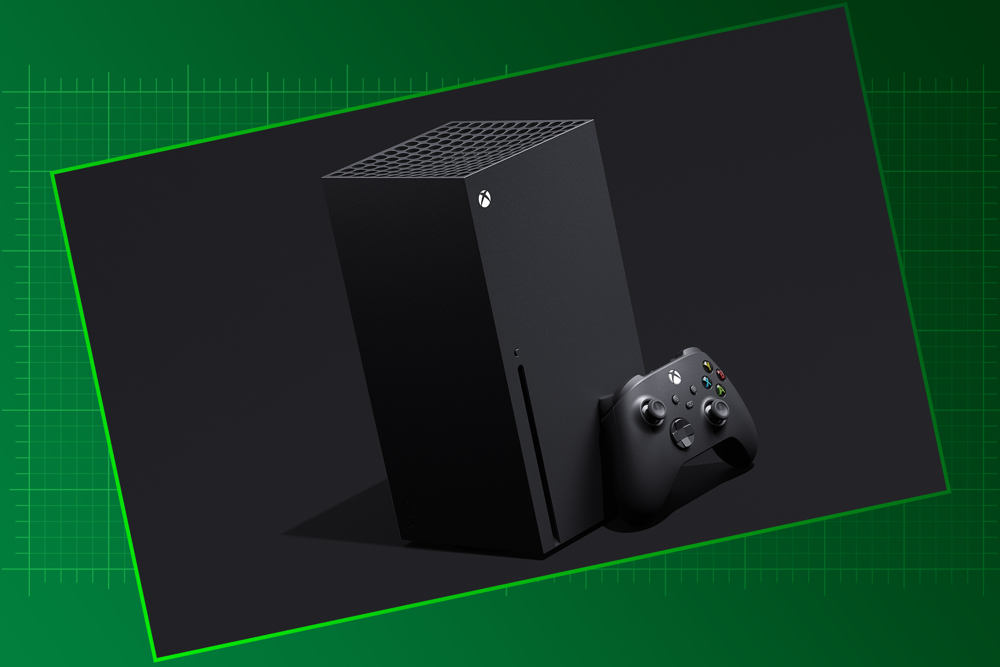 Xbox Series X console and controller on a graduated green graphic background