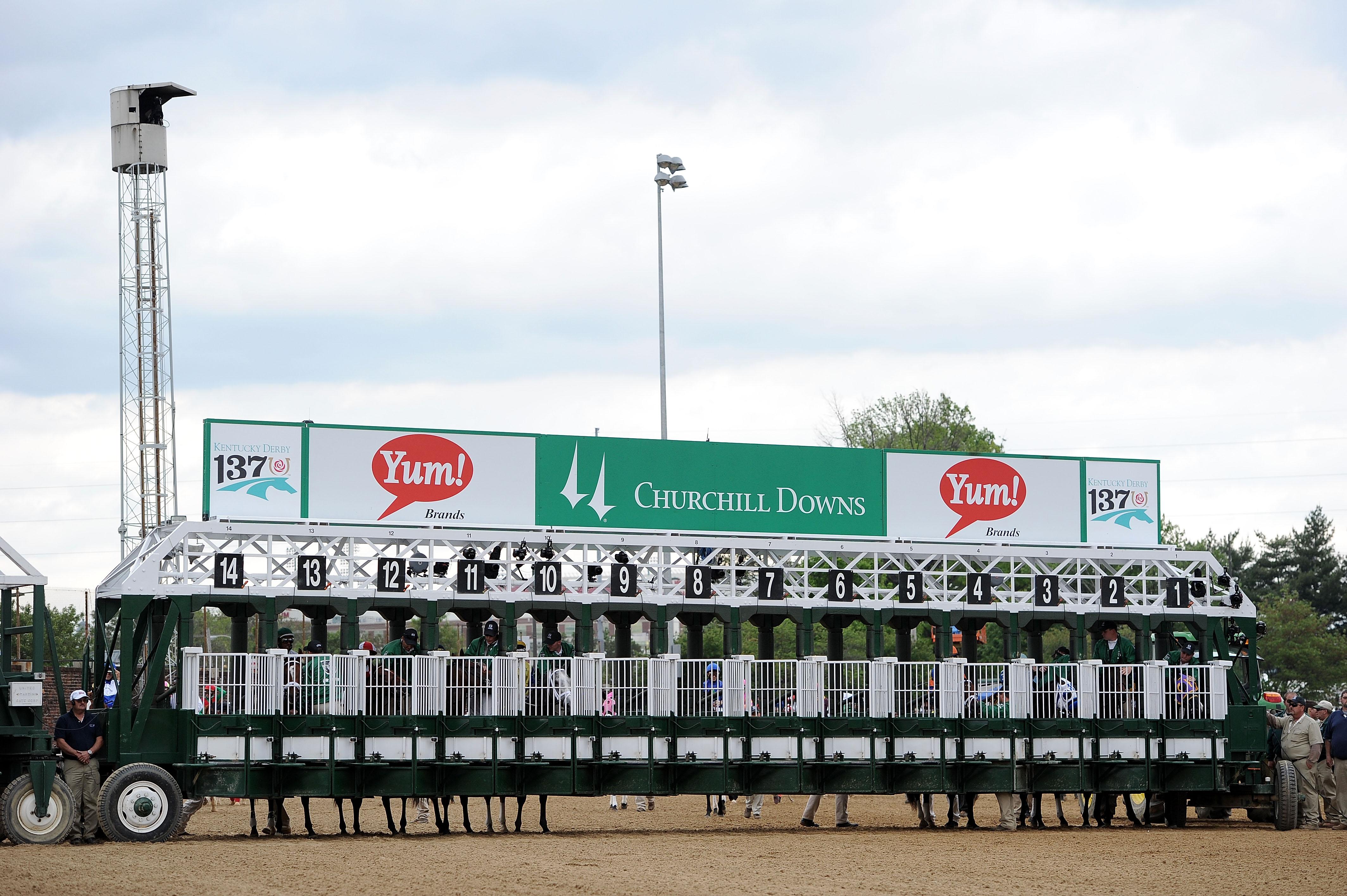 2011年5月7日,在路易斯维尔,在丘吉尔唐斯举行的第137届肯塔基赛马会上,马走进起跑线。