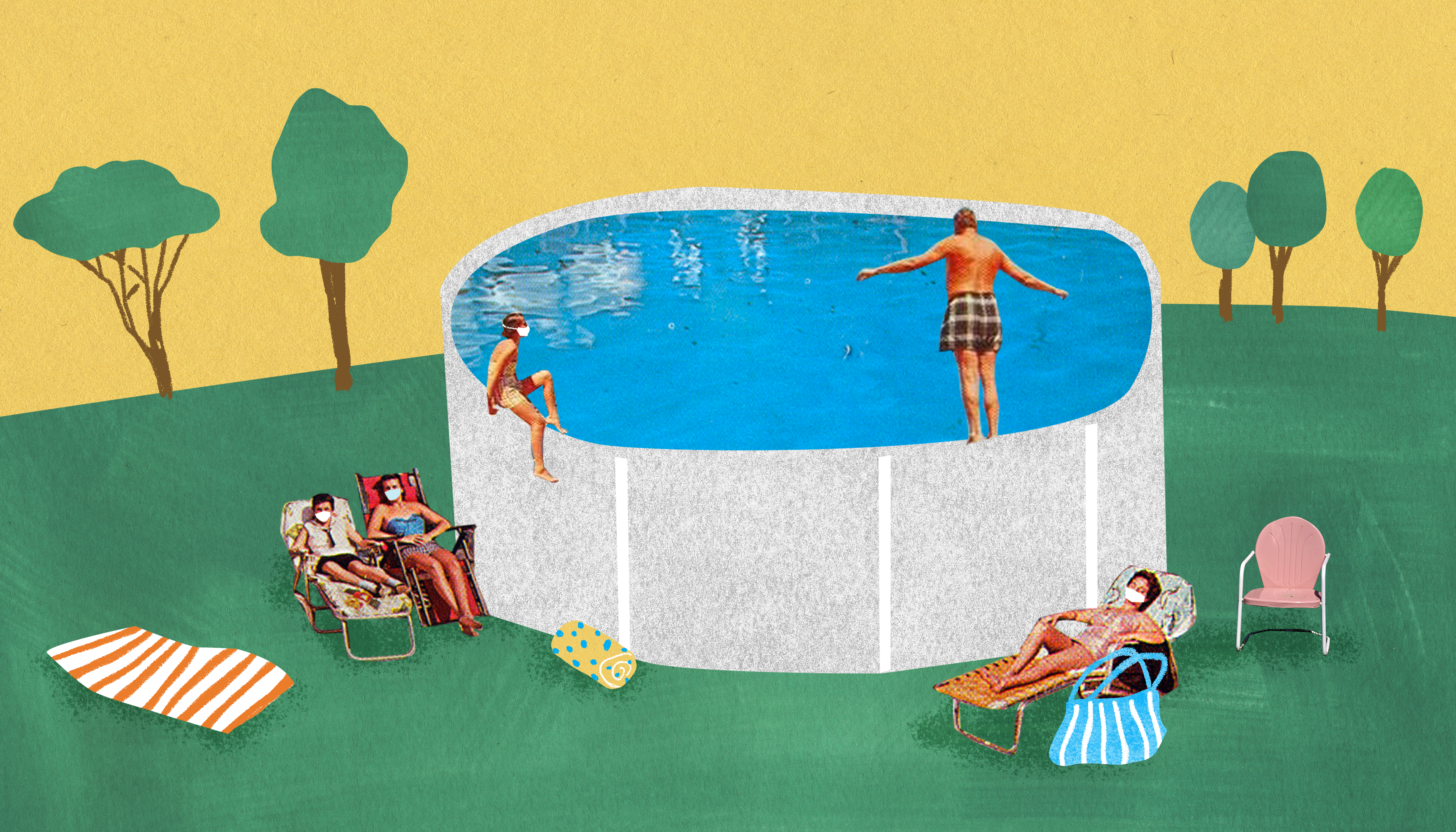 A group of white young adults lounge around an above ground swimming pool in a sprawling backyard. Illustration shows that above ground pools are popular during the coronavirus pandemic.