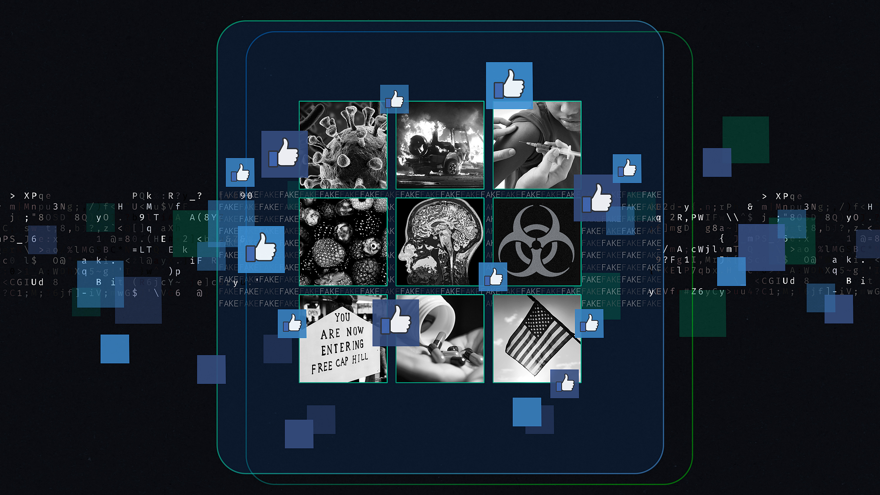 "Graphic illustration of a grid of nine black-and-white images of Covid-19, a car on fire, a child being vaccinated, fruit, a brain scan, the biohazard symbol, protest sign from Seattle, pills, American flag, and a number of Facebook ""like"" buttons."