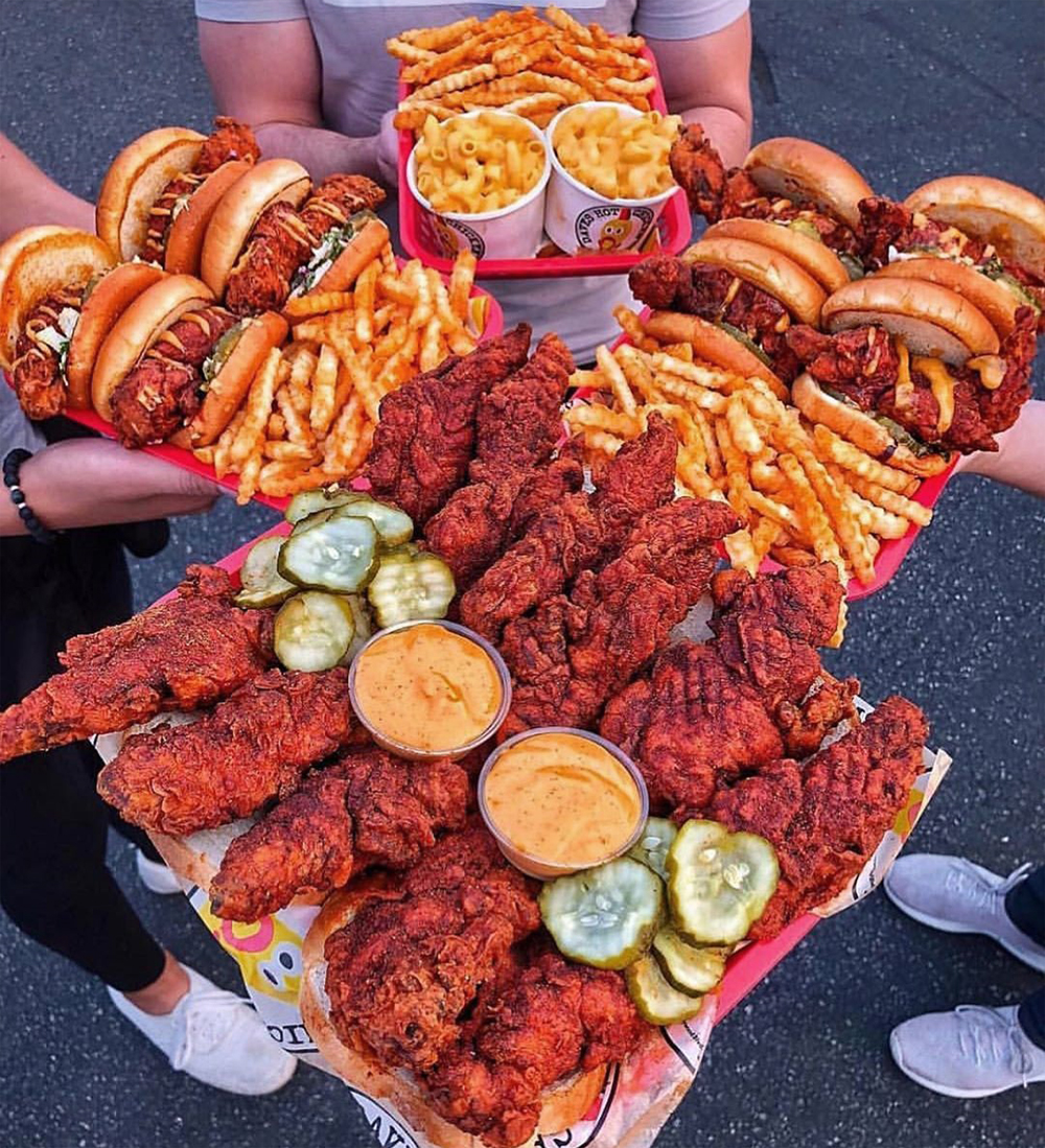 Nashville hot chicken tenders and sliders, plus fries and mac & cheese, on the menu at Dave's Hot Chicken.