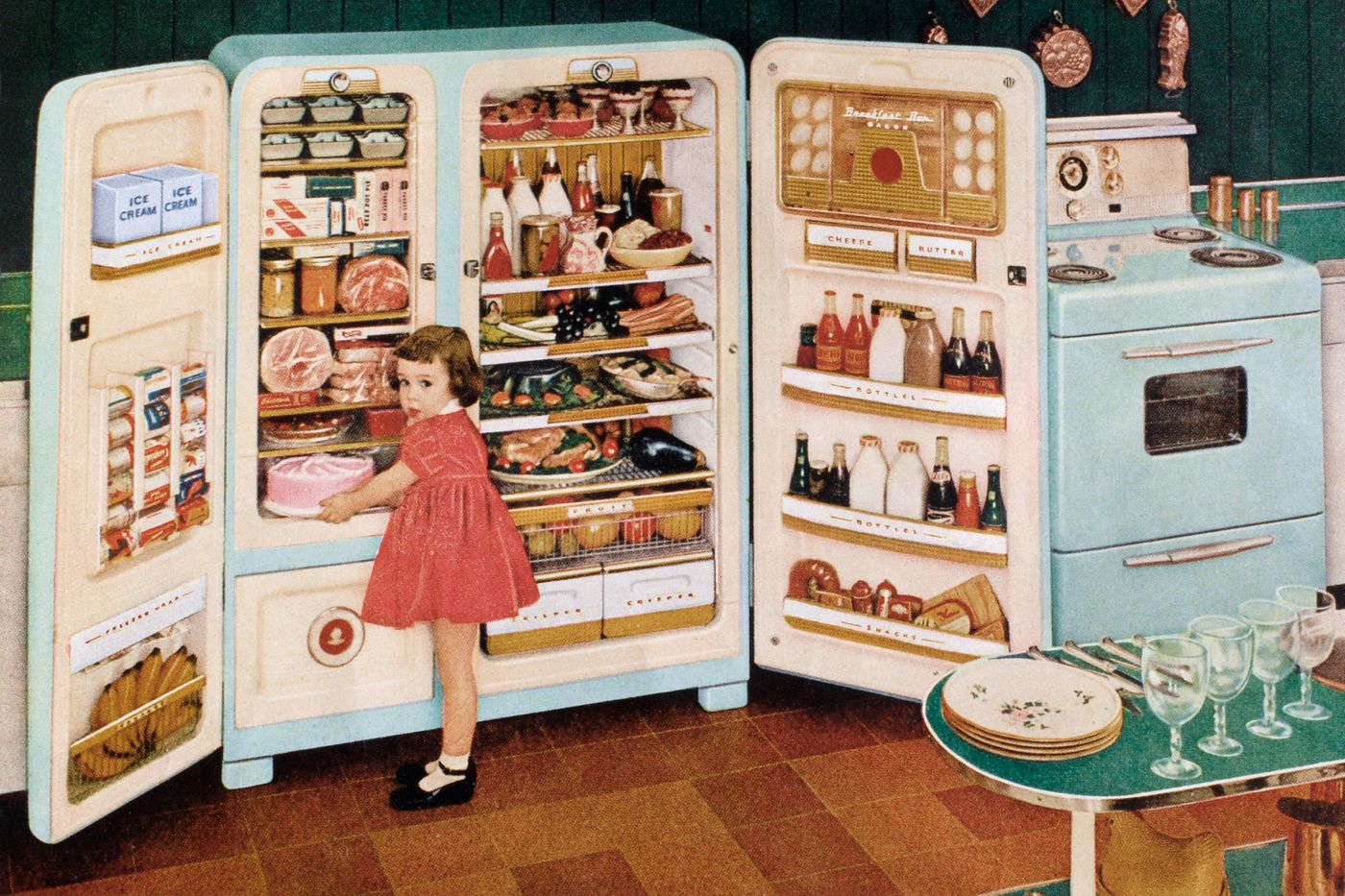 Illustration featuring a small girl in front of a full fridge.