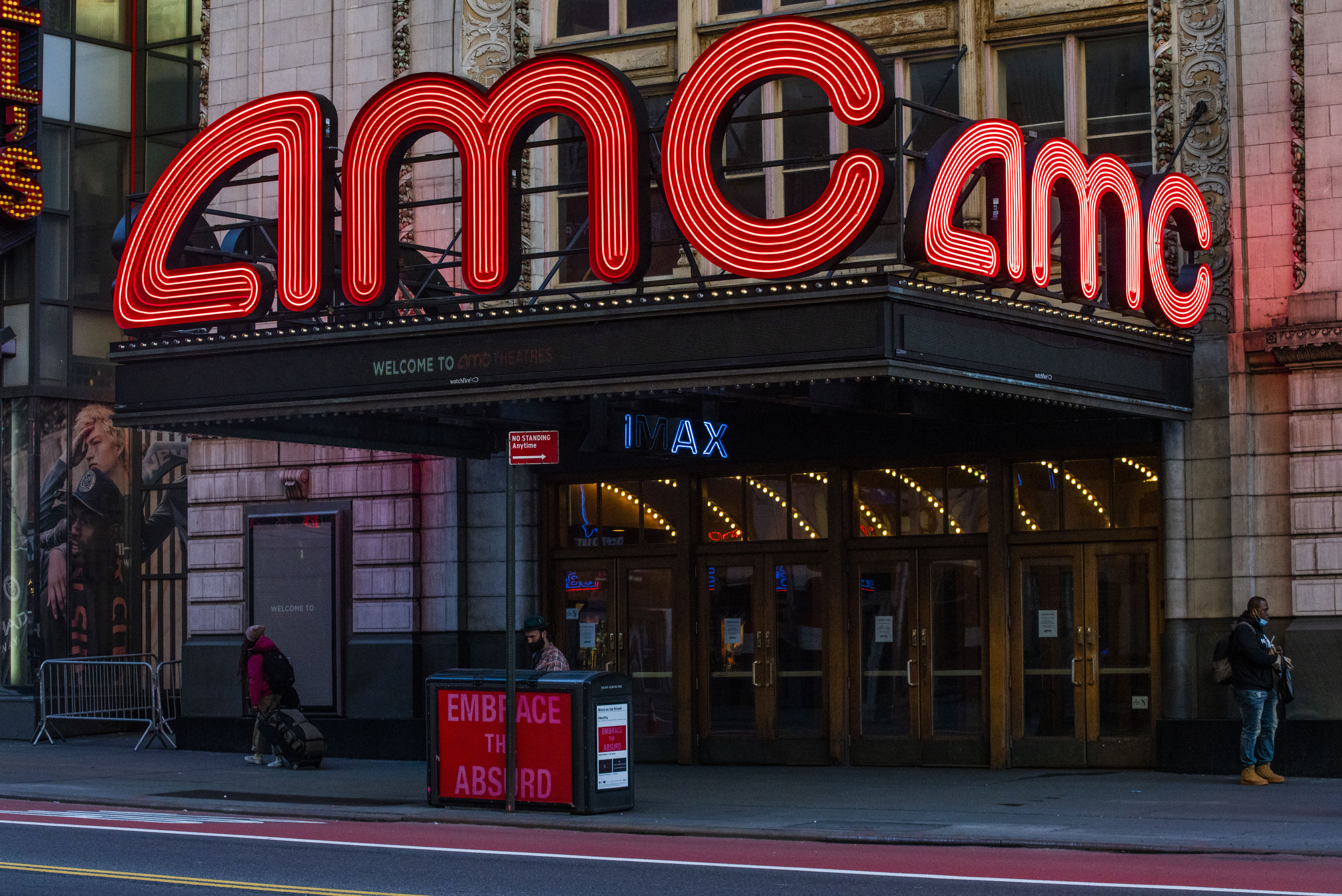 An AMC Theater in Times Square is closed for business on Friday, March 2020 in New York, NY. The city officially announced the closure of all non-essential businesses and implemented a lockdown last week. Photo by Erin Lefevre for Nur Photo.
