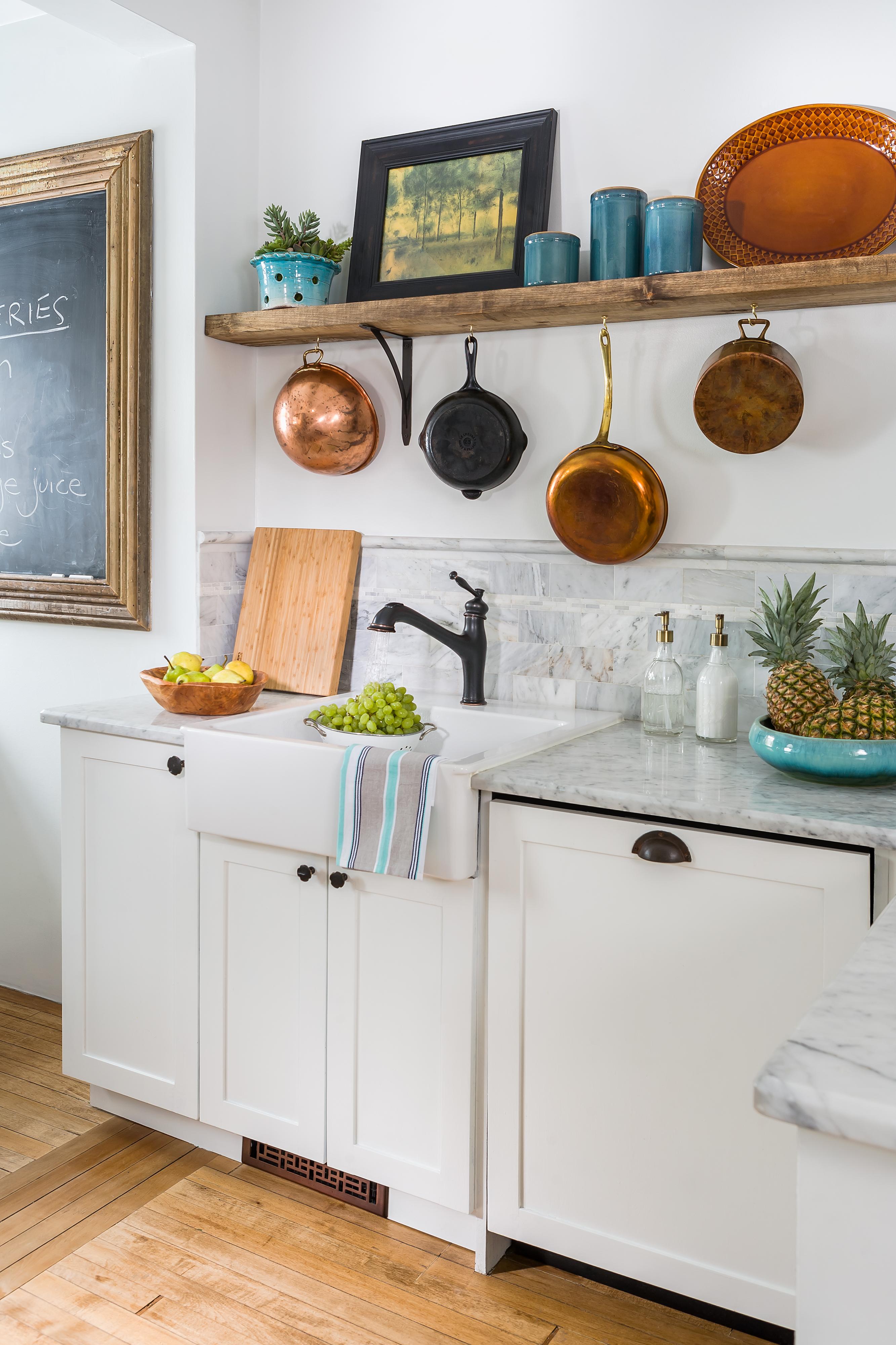 Copper Pots in Kitchen