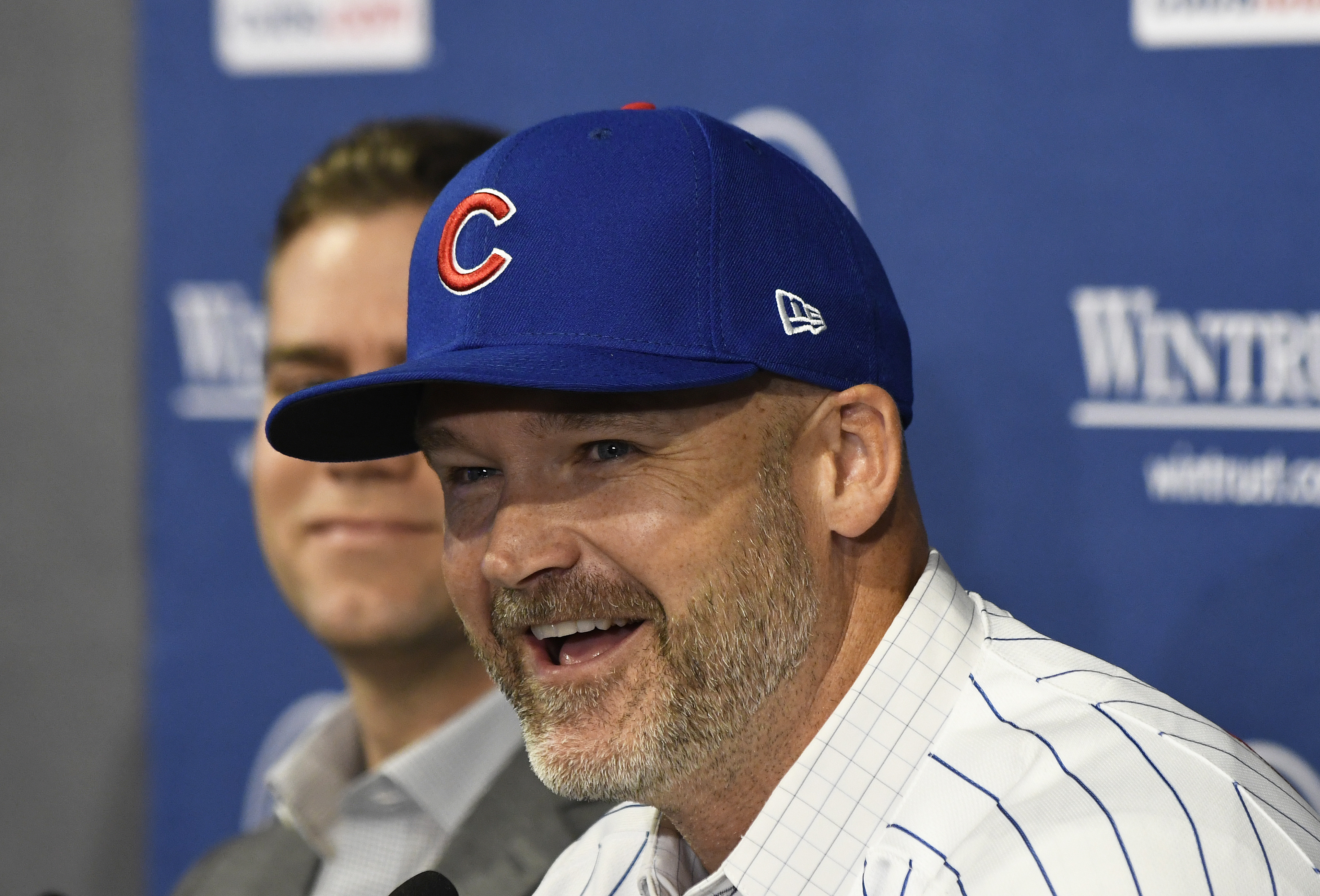 David Ross talks to reporters during his introductory press conference as Cubs manager on Oct. 28.