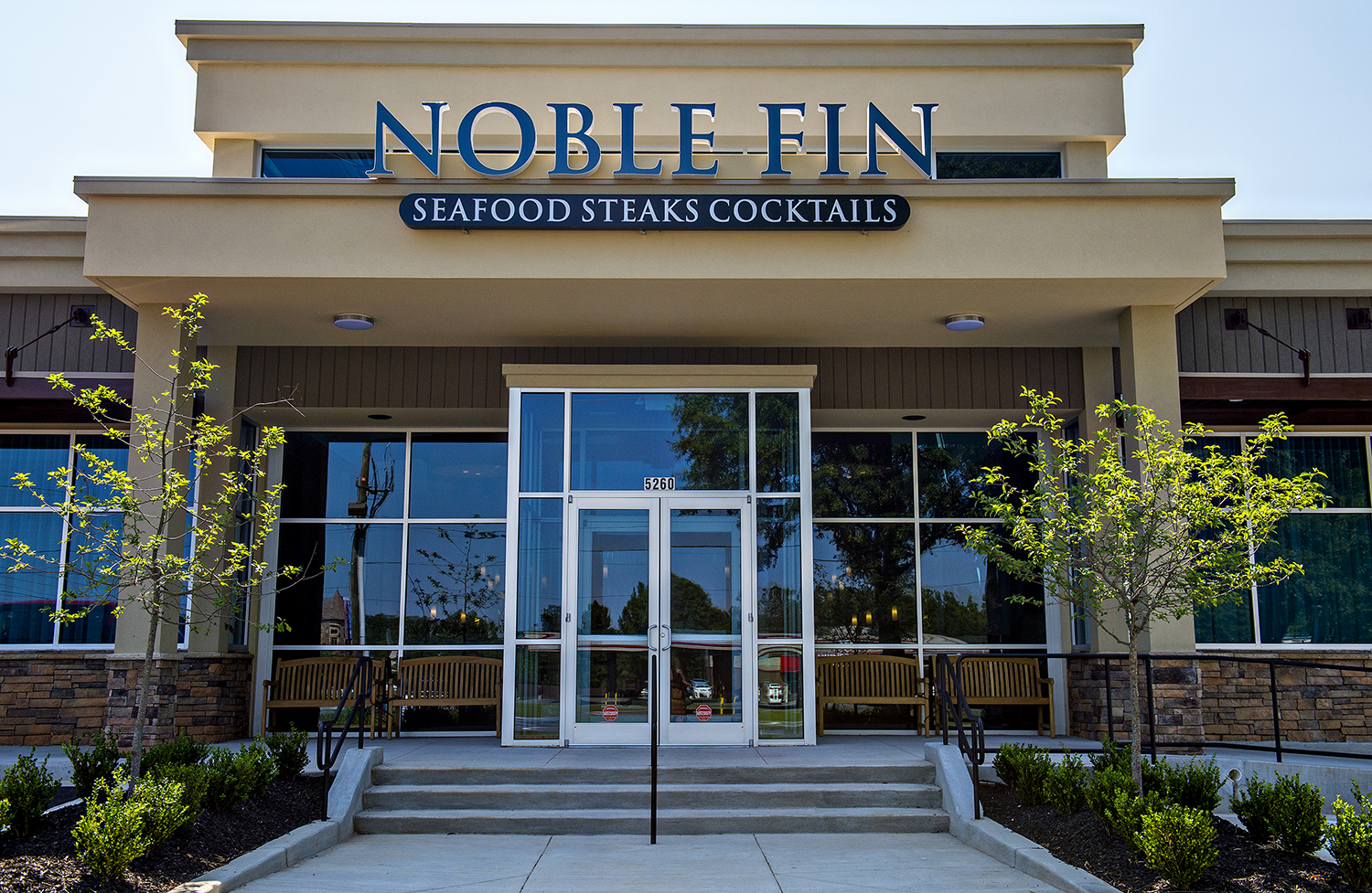 Outside the main entrance at Noble Fin.