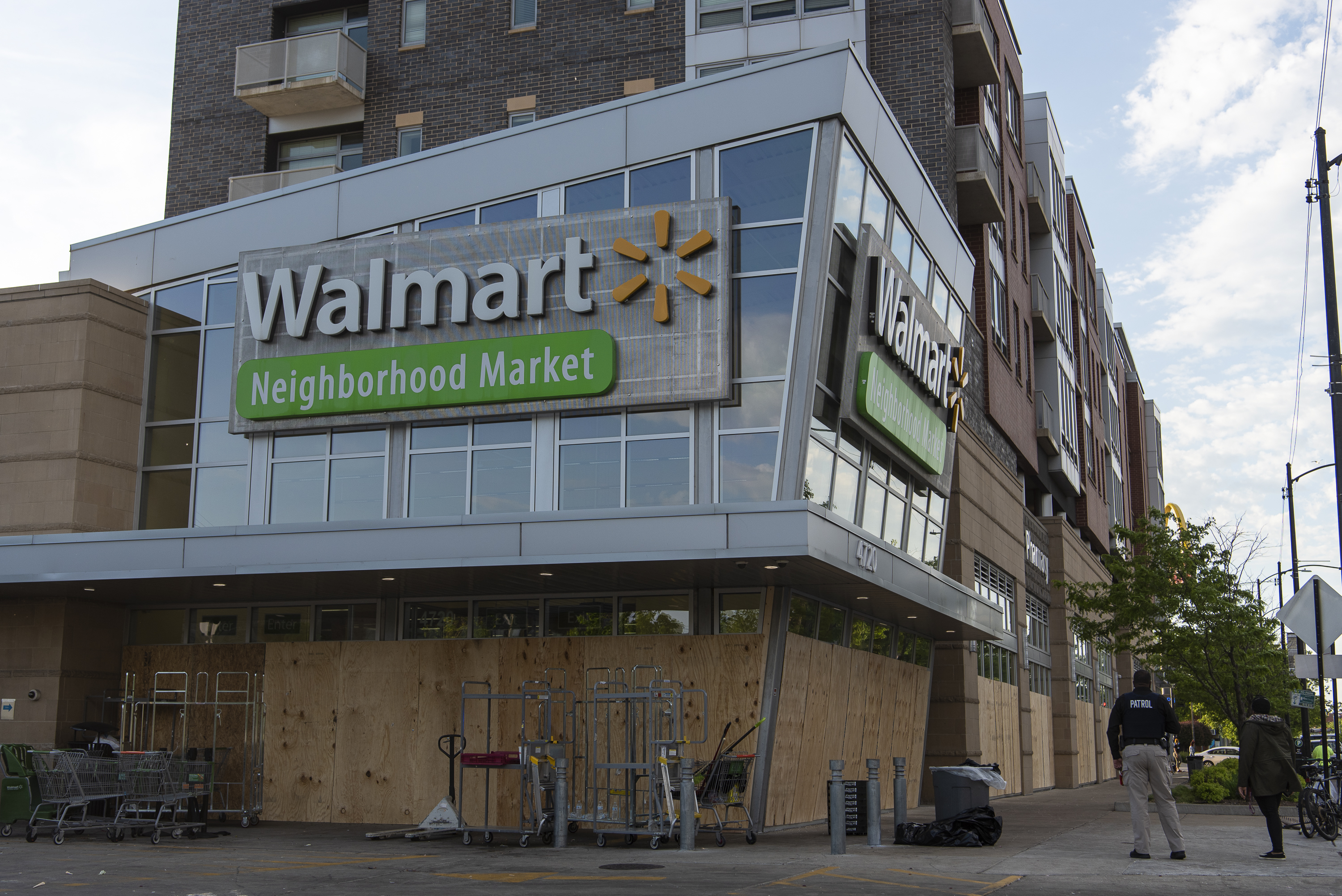 A Walmart Neighborhood Market at 4720 S. Cottage Grove Ave., boarded up earlier this month after it was looted. Scores of businesses were looted throughout the city amid protests over the death of George Floyd in Minneapolis.