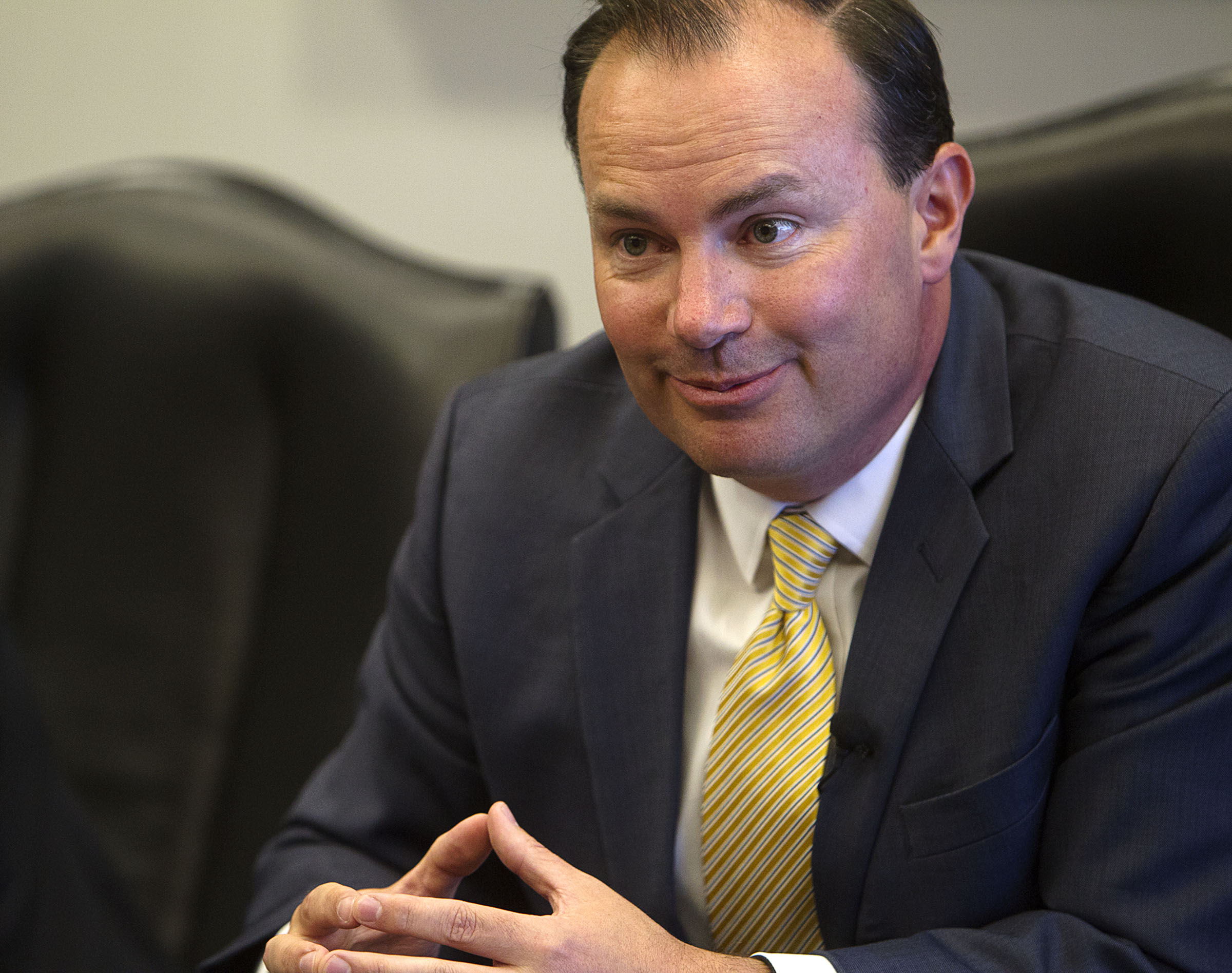 Sen. Mike Lee, R-Utah, meets with reporters and members of the the Deseret News and KSL editorial board in Salt Lake City on Monday, Aug. 29, 2016.