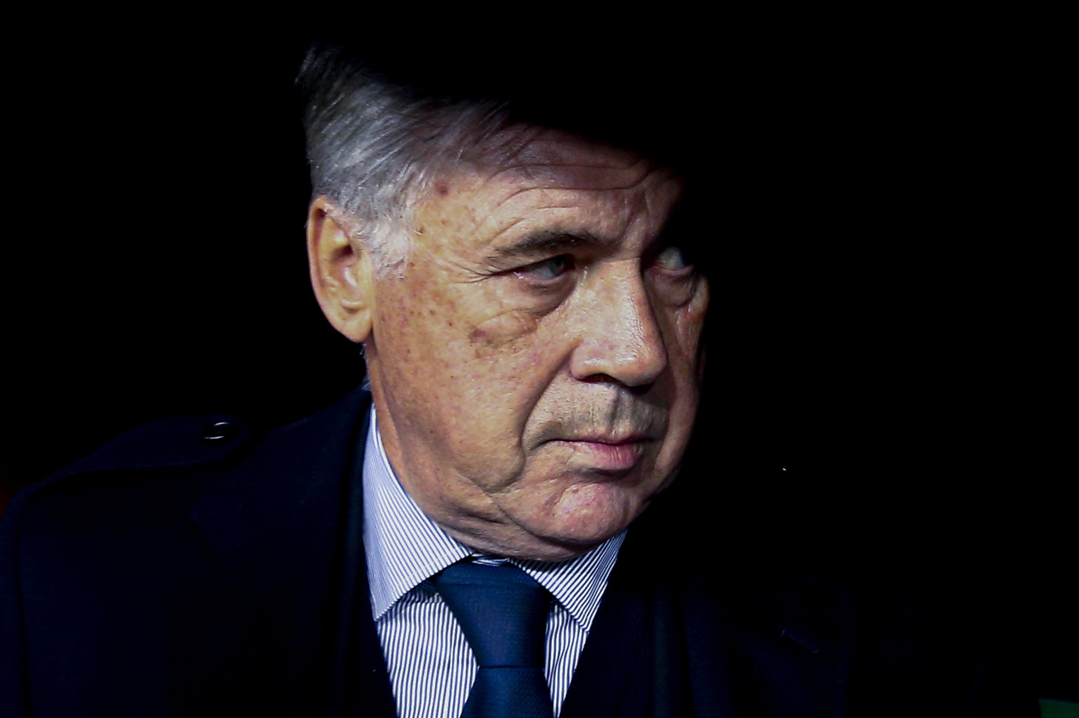 Napoli's Italian coach Carlo Ancelotti looks on during the...