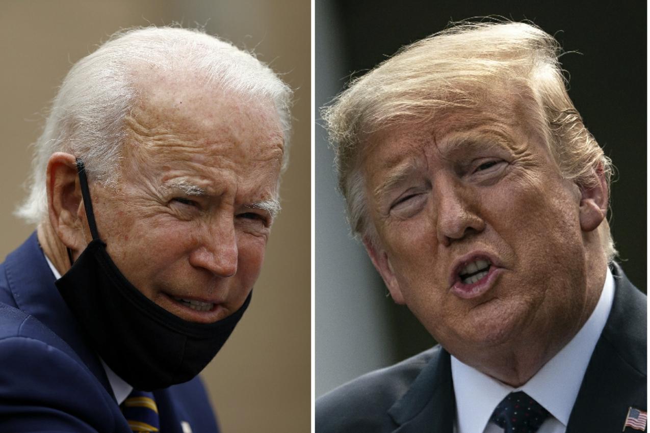 Democratic presidential candidate Joe Biden, left; President Donald Trump, right.