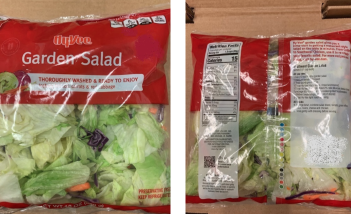According to the CDC, there have been 76 confirmed illnesses with 16 hospitalizations reported in Iowa, Illinois, Kansas, Missouri, Nebraskaand Minnesota linked to pre-packaged salad mix such as this sold at Hy-Vee.