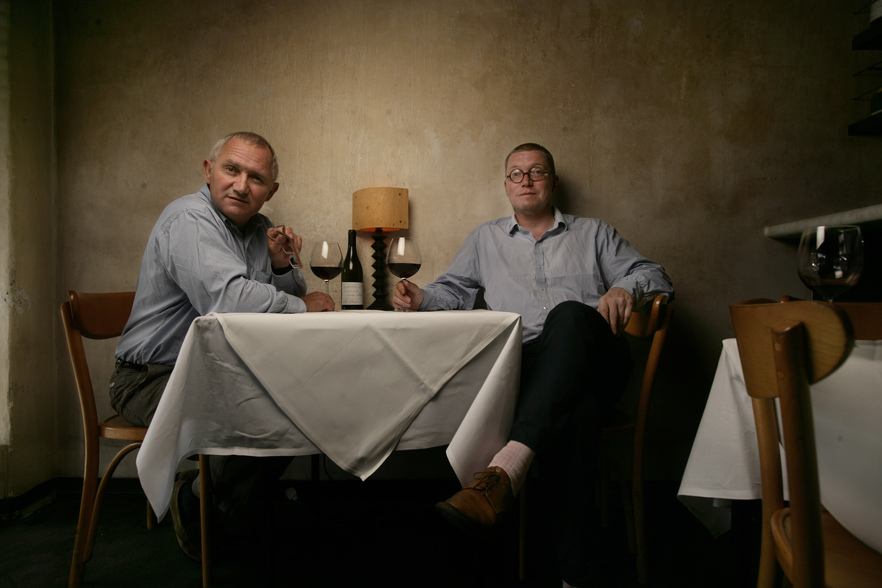 Fergus Henderson (glasses) and Trevor Gulliver at Cafe Di Stasio on 29th August,