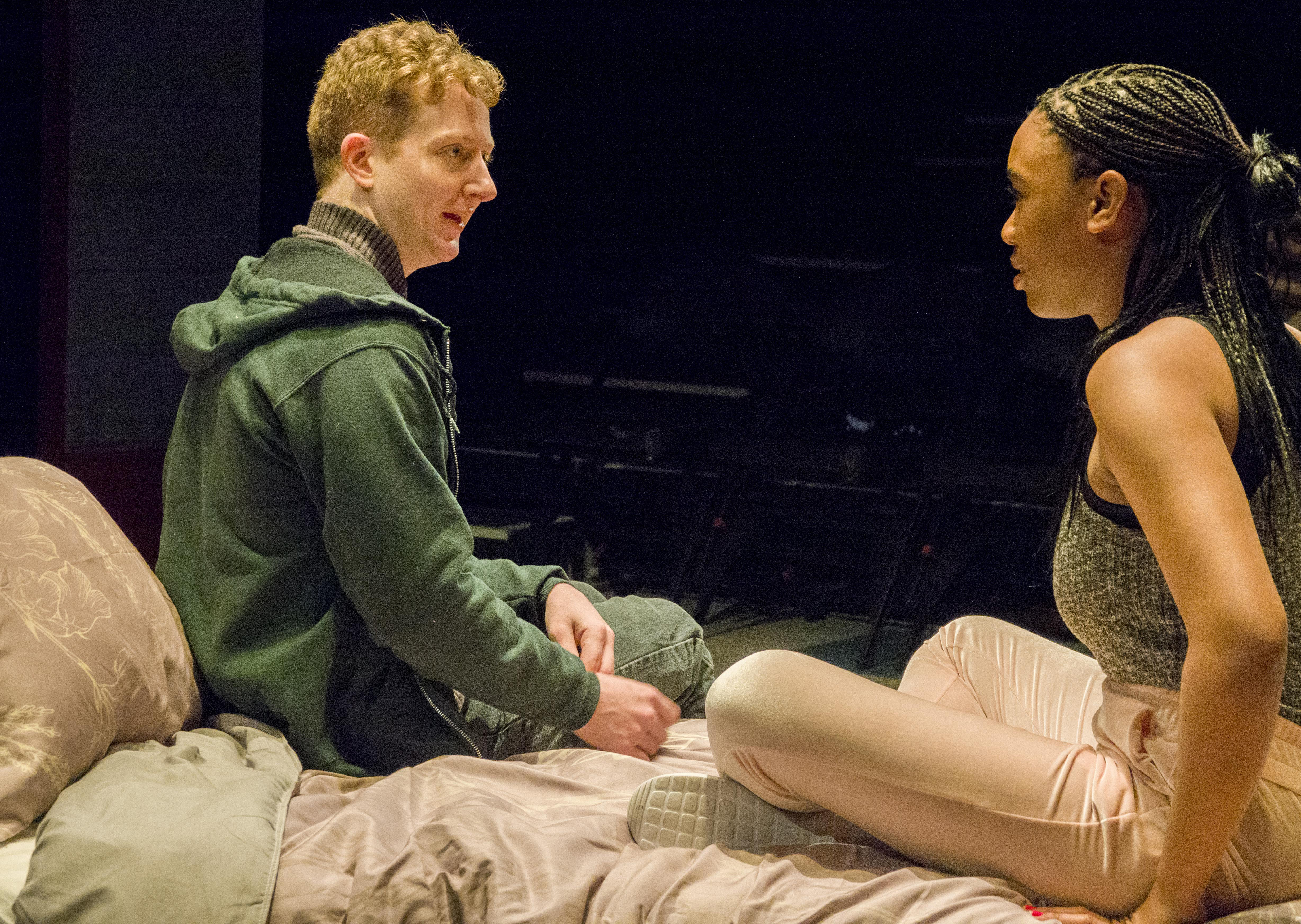 """MacGregor Arney plays Richard and Courtney Rikki Green plays Anne in """"Teenage Dick,"""" Mike Lew's new play that finds theater's most famous disabled character, Shakespeare's Richard III, scheming his way through the brutal, no-holds barred world of contemporary high school."""