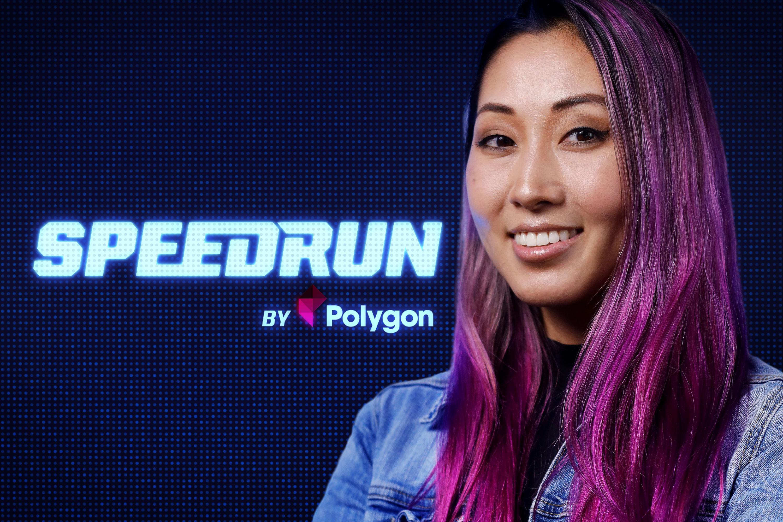 Mari Takahashi in front of the Speedrun logo
