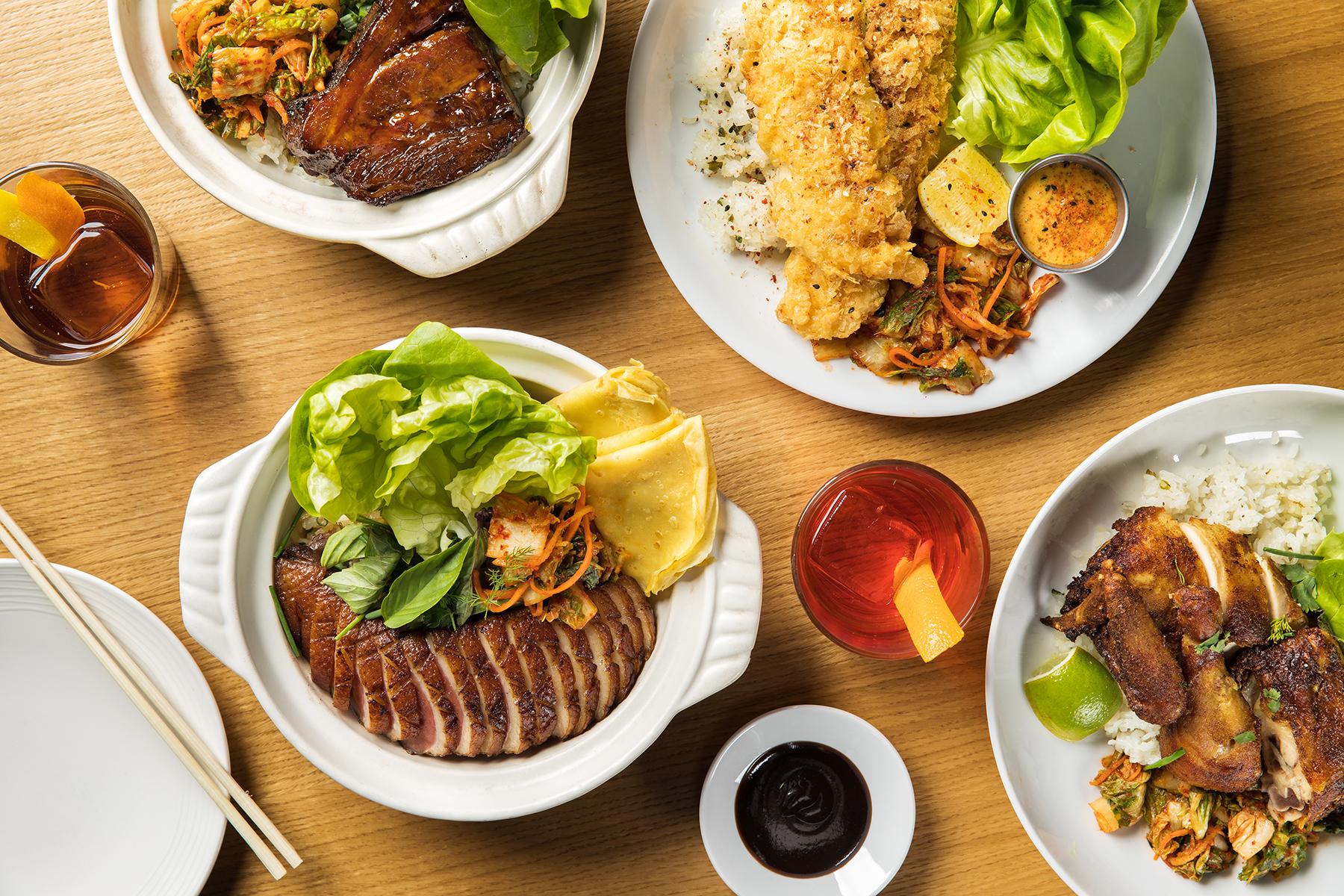 Lunch plates at Momofuku