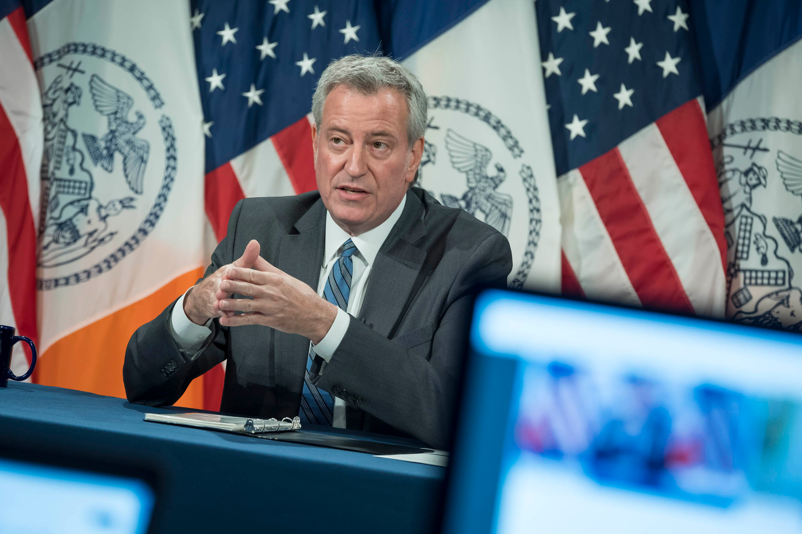 Mayor Bill de Blasio spoke about the 2020 budget during a City Hall press conference, June 30, 2020.