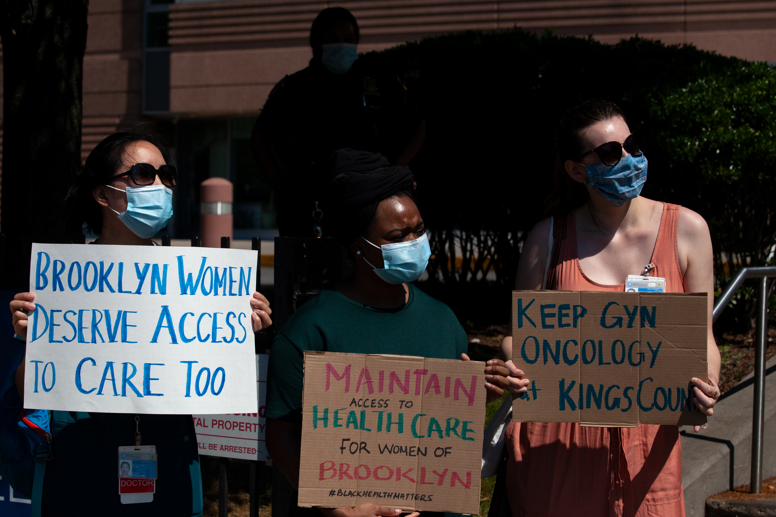 Kings County Hospital staff protested proposed cuts to gynecologic oncology services, June 29, 2020.