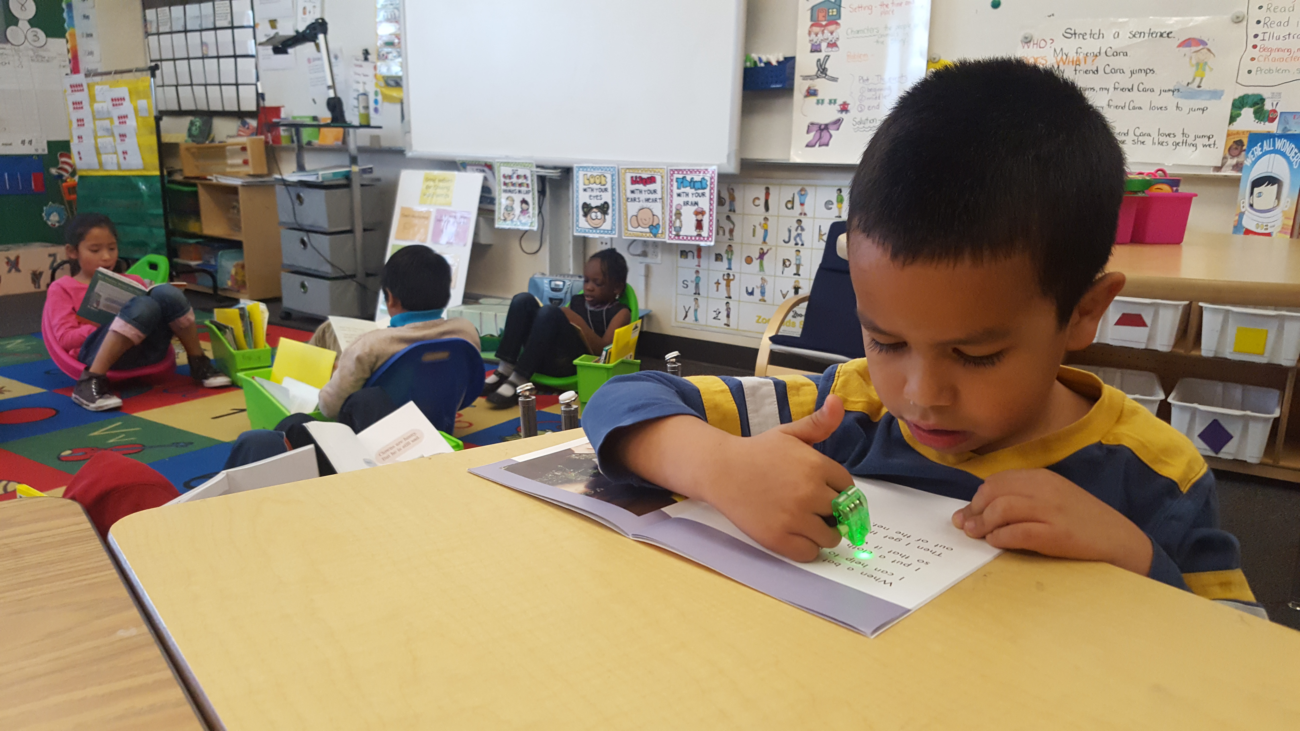 Students sit reading around a classroom reading on their own.