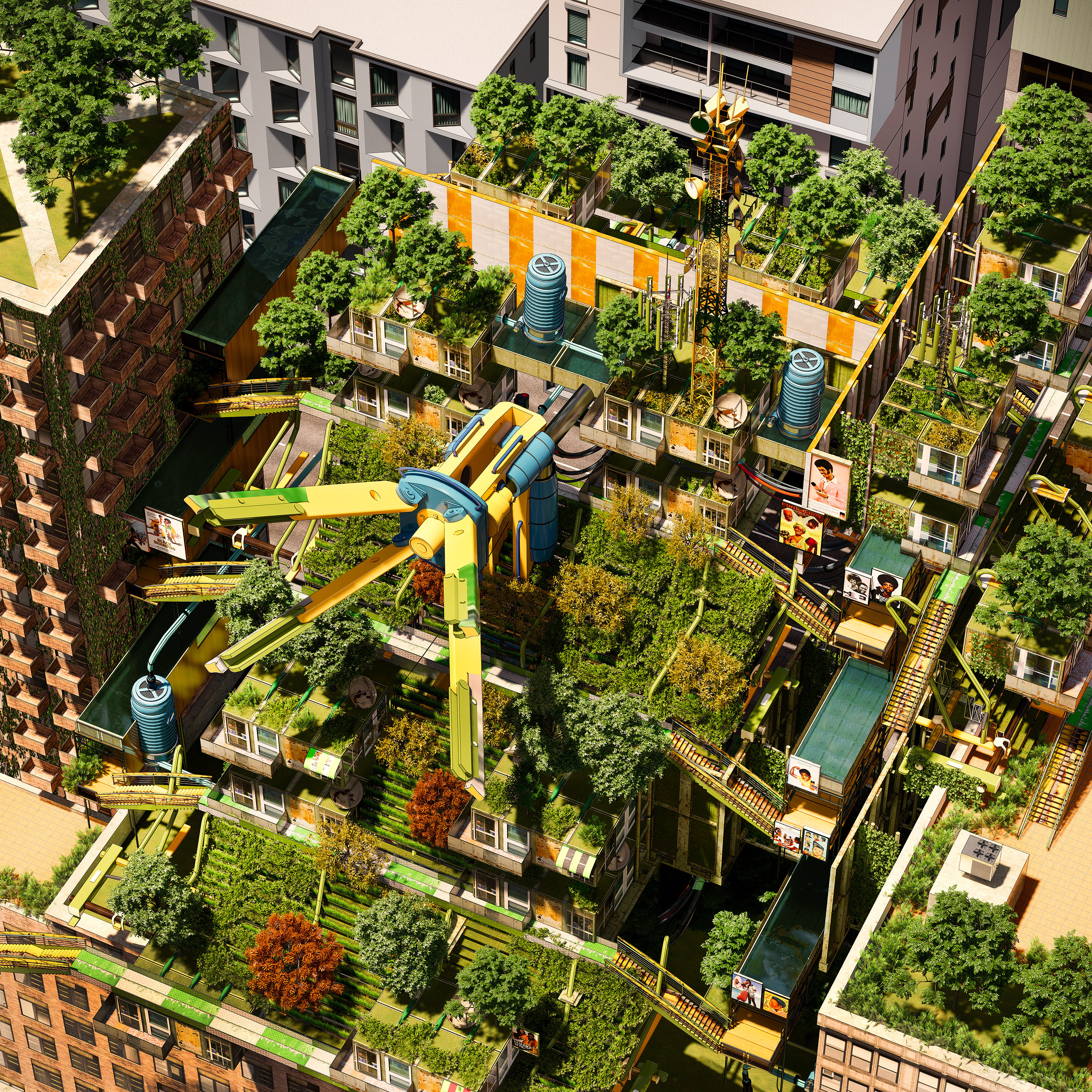 A rendering of an aerial view of apartment buildings with a futuristic garden in the courtyard
